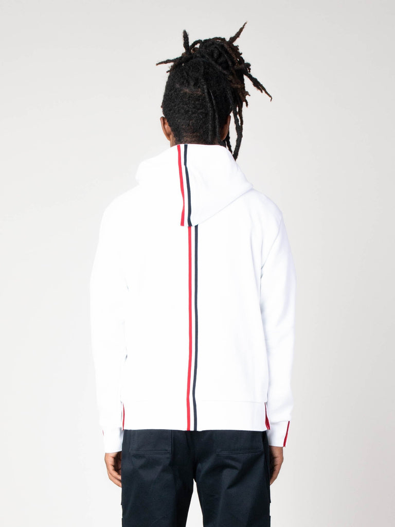 White Hoodie Zip-Up Pullover In Classic Loopback With CB RWB Stripe 513570488696909