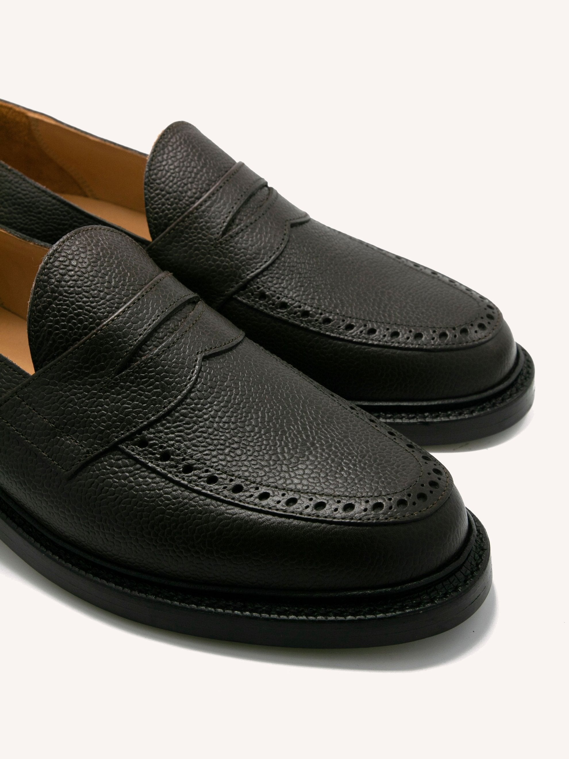 Dark Brown Penny Loafers (Leather Sole/Pebble Grain) 2