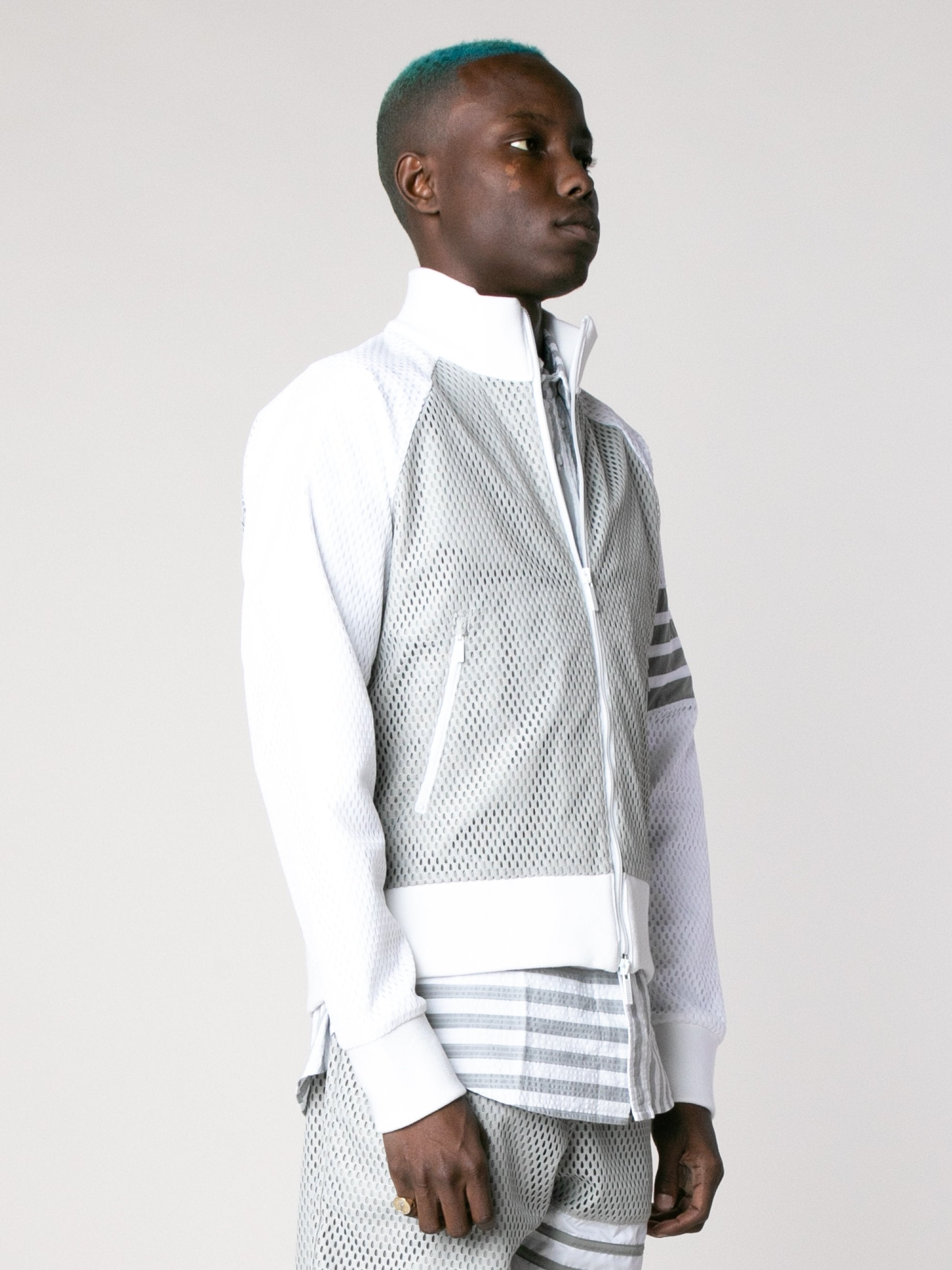 Med Grey Rib Neck Zip Up Track Jacket In Heavy Athletic Mesh 4
