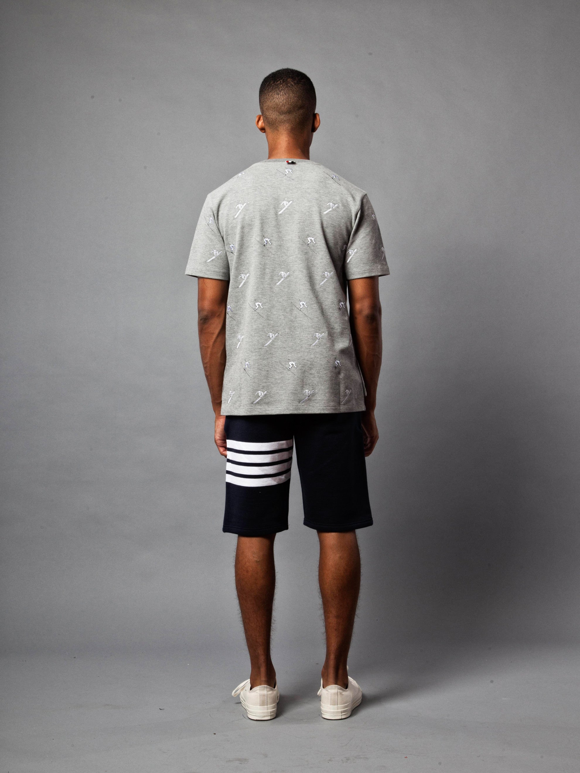 Light Grey SS Rib Crew Neck Tee (Classic Pique W/ Allover Skier Embroidery) 5