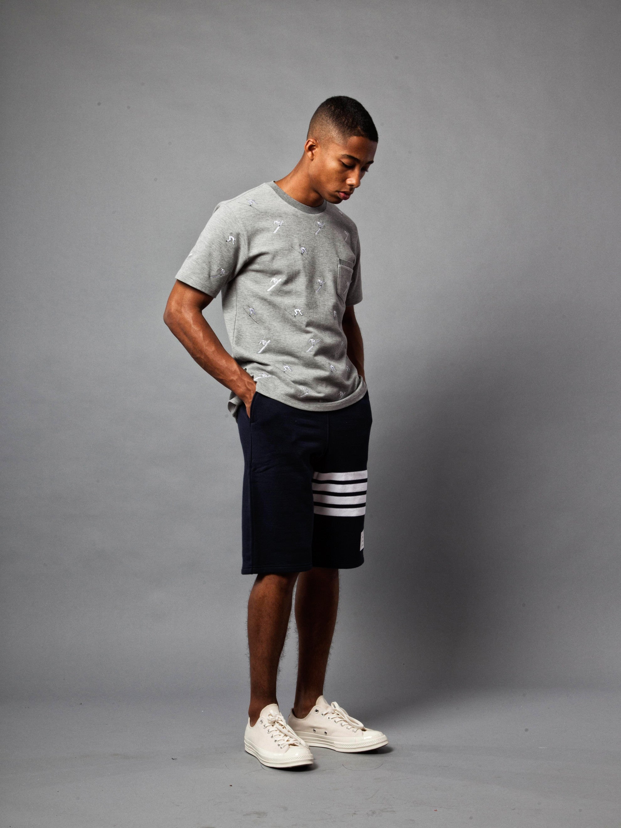 Light Grey SS Rib Crew Neck Tee (Classic Pique W/ Allover Skier Embroidery) 3