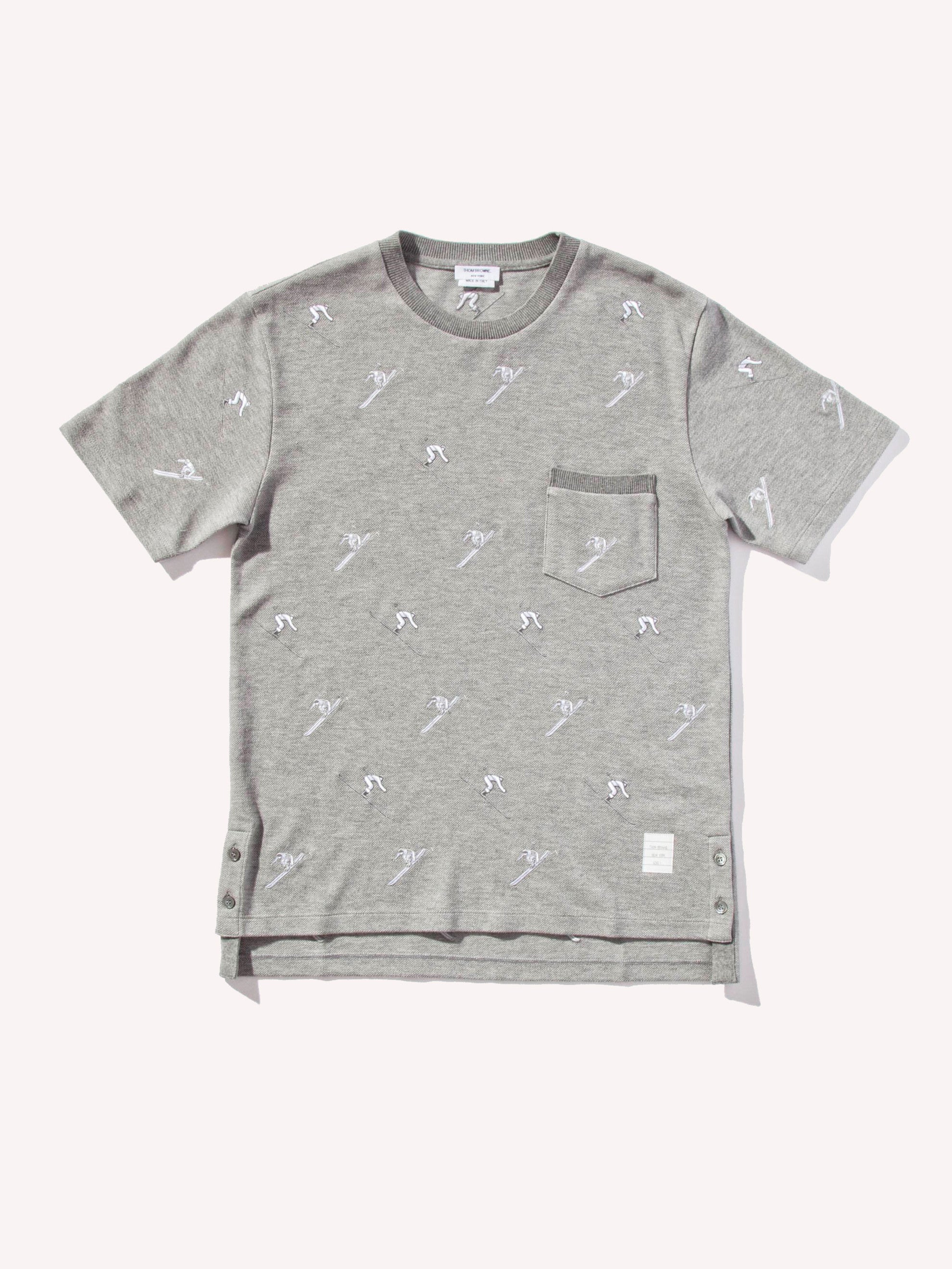 Light Grey SS Rib Crew Neck Tee (Classic Pique W/ Allover Skier Embroidery) 1