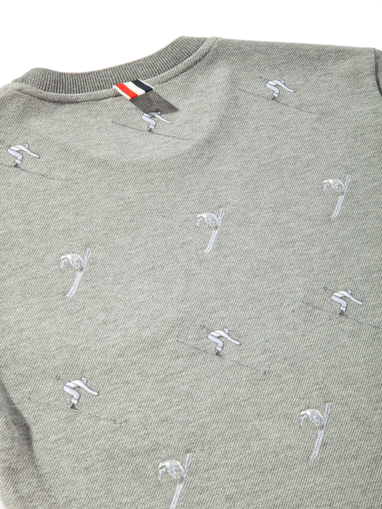 Light Grey SS Rib Crew Neck Tee (Classic Pique W/ Allover Skier Embroidery) 820818636105