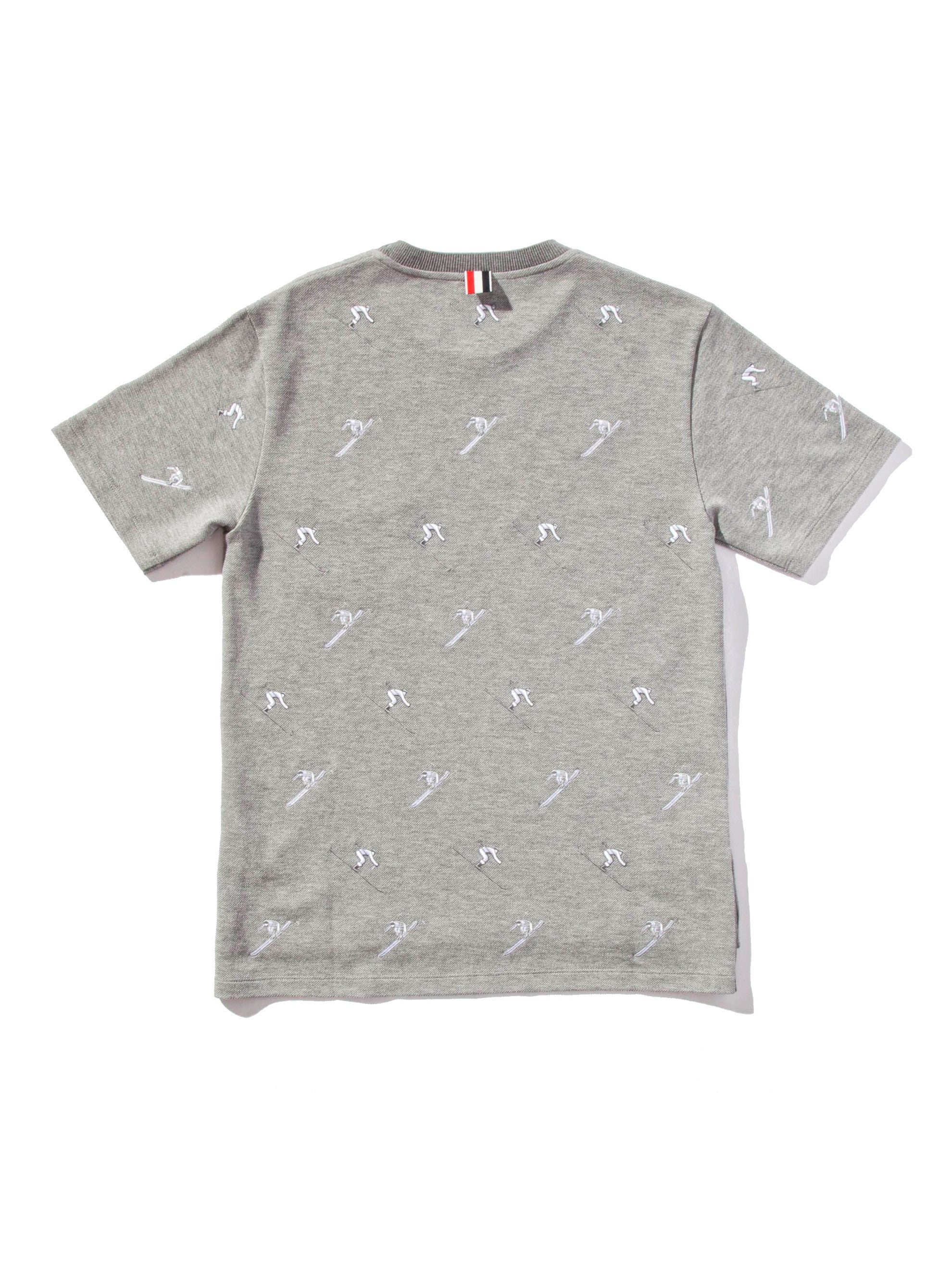 Light Grey SS Rib Crew Neck Tee (Classic Pique W/ Allover Skier Embroidery) 6