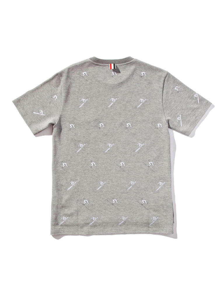 Light Grey SS Rib Crew Neck Tee (Classic Pique W/ Allover Skier Embroidery) 620818637513