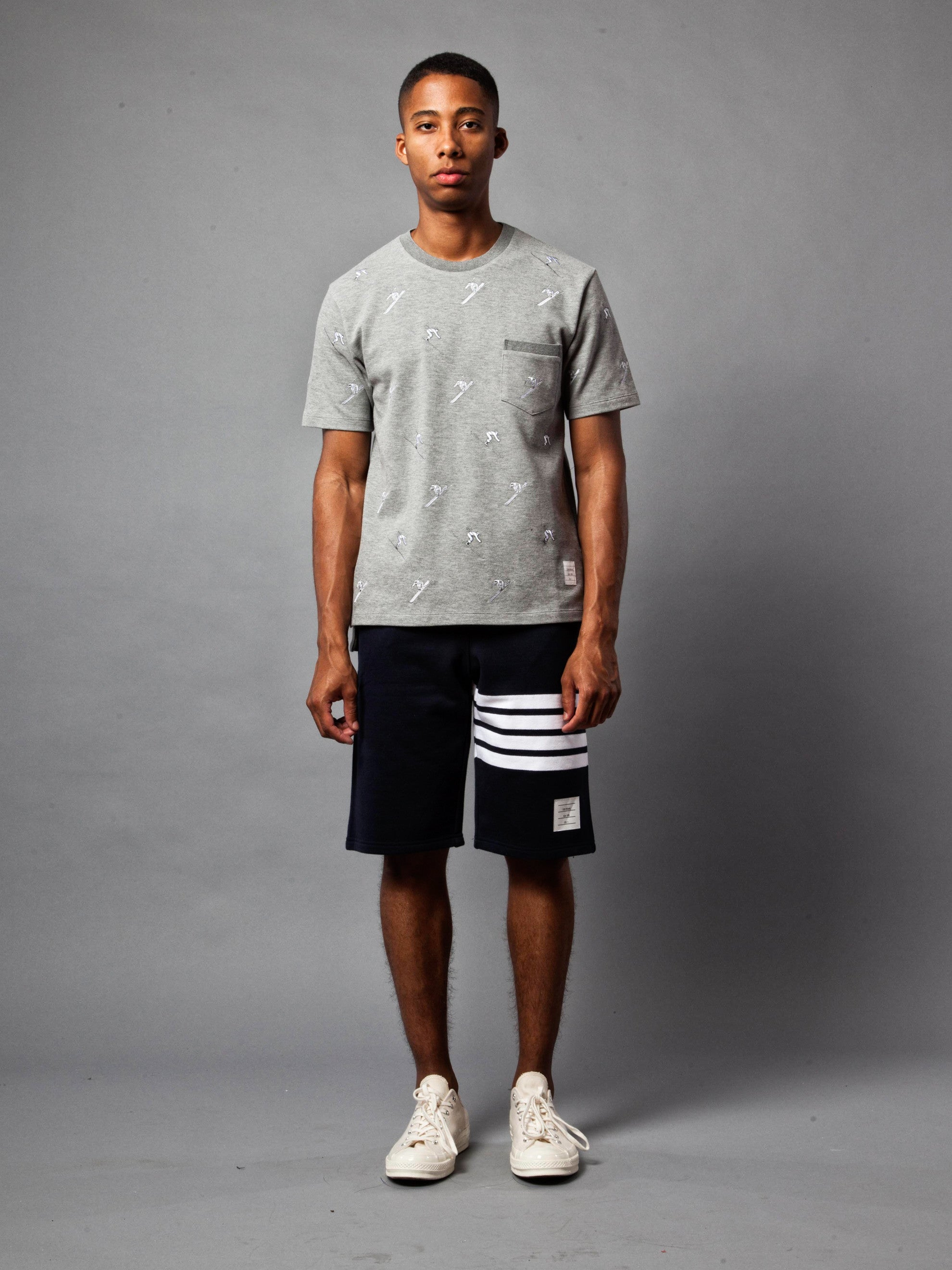 Light Grey SS Rib Crew Neck Tee (Classic Pique W/ Allover Skier Embroidery) 2