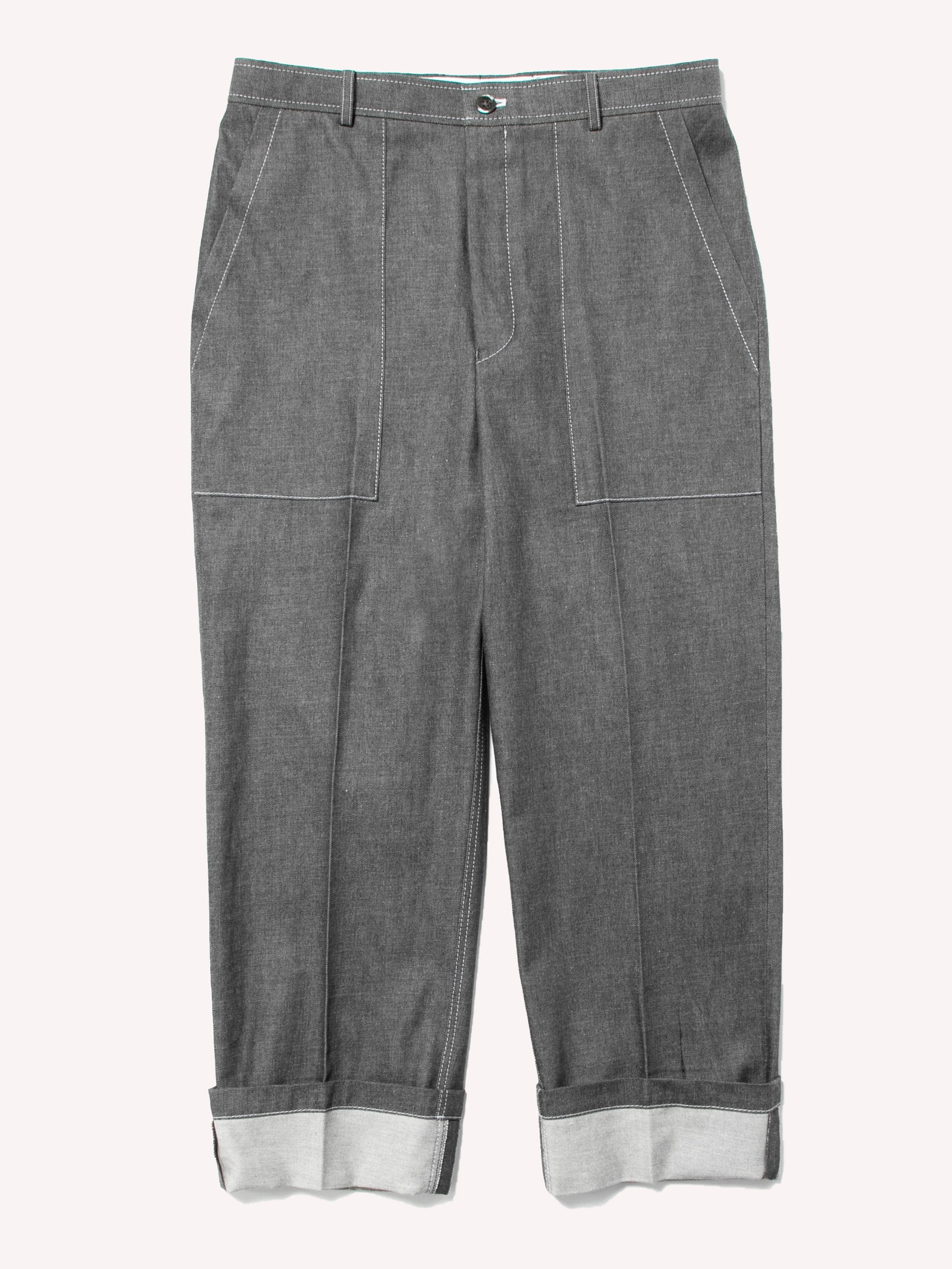 Med Grey Square Patch Pocket Fold Up Straight Leg Trouser In Denim 1