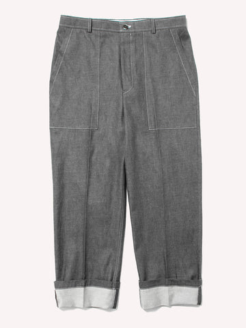 Square Patch Pocket Fold Up Straight Leg Trouser In Denim