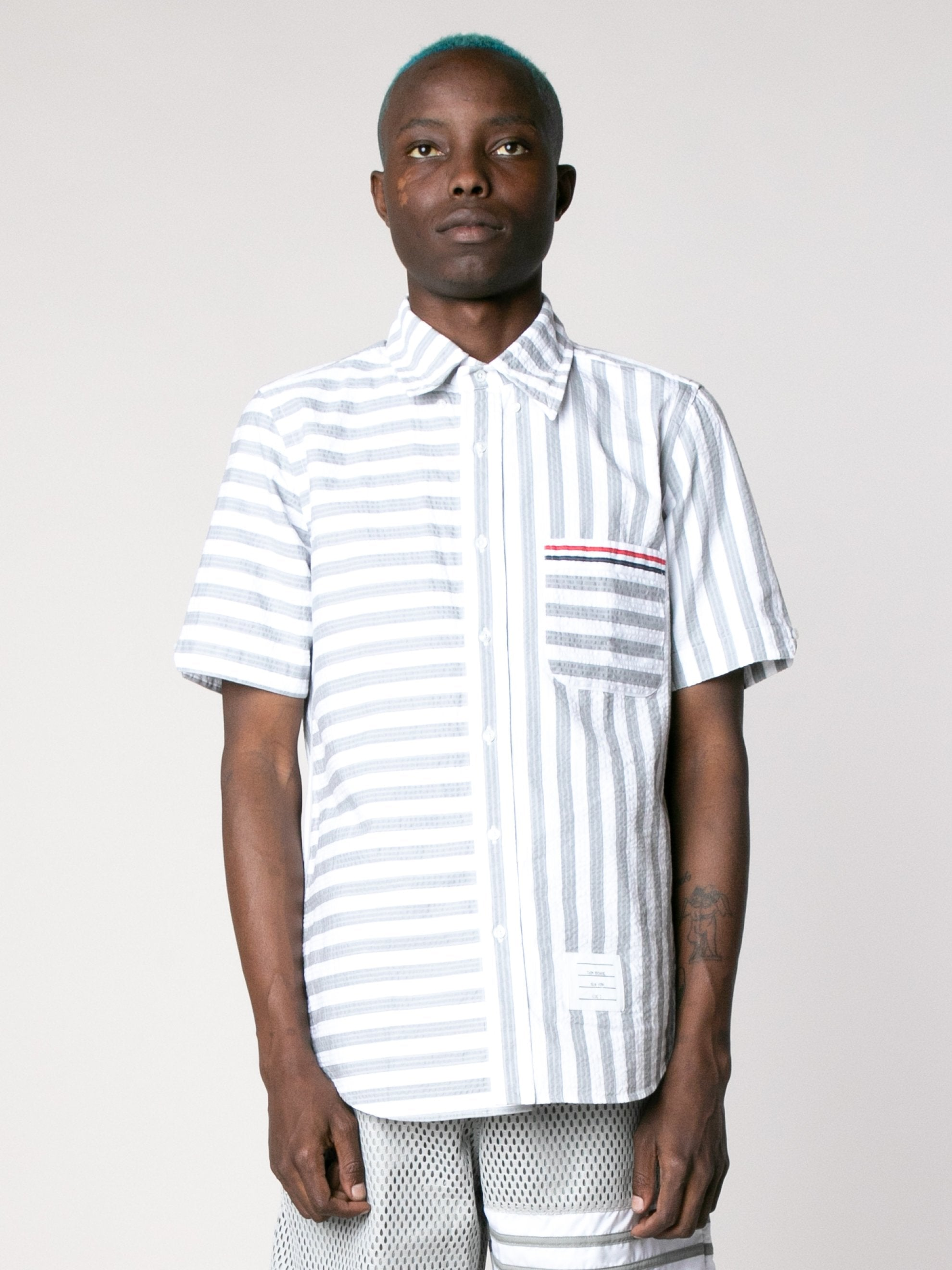 Med Grey Straight Fit Button Down Short Sleeve Shirt In Engineered RWB Wide Universty Stripe Shirt Seersucker 2