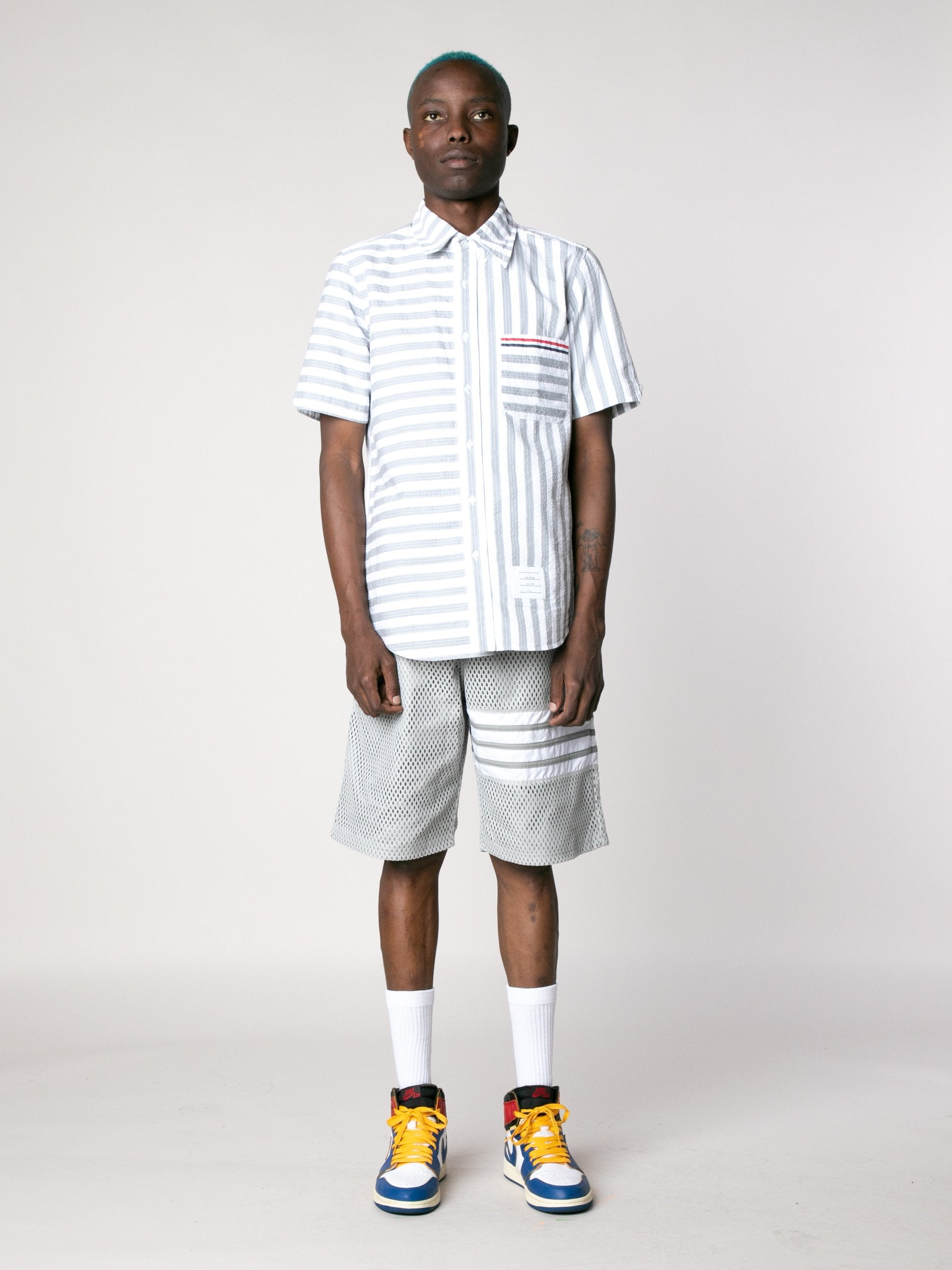 Med Grey Straight Fit Button Down Short Sleeve Shirt In Engineered RWB Wide Universty Stripe Shirt Seersucker 3