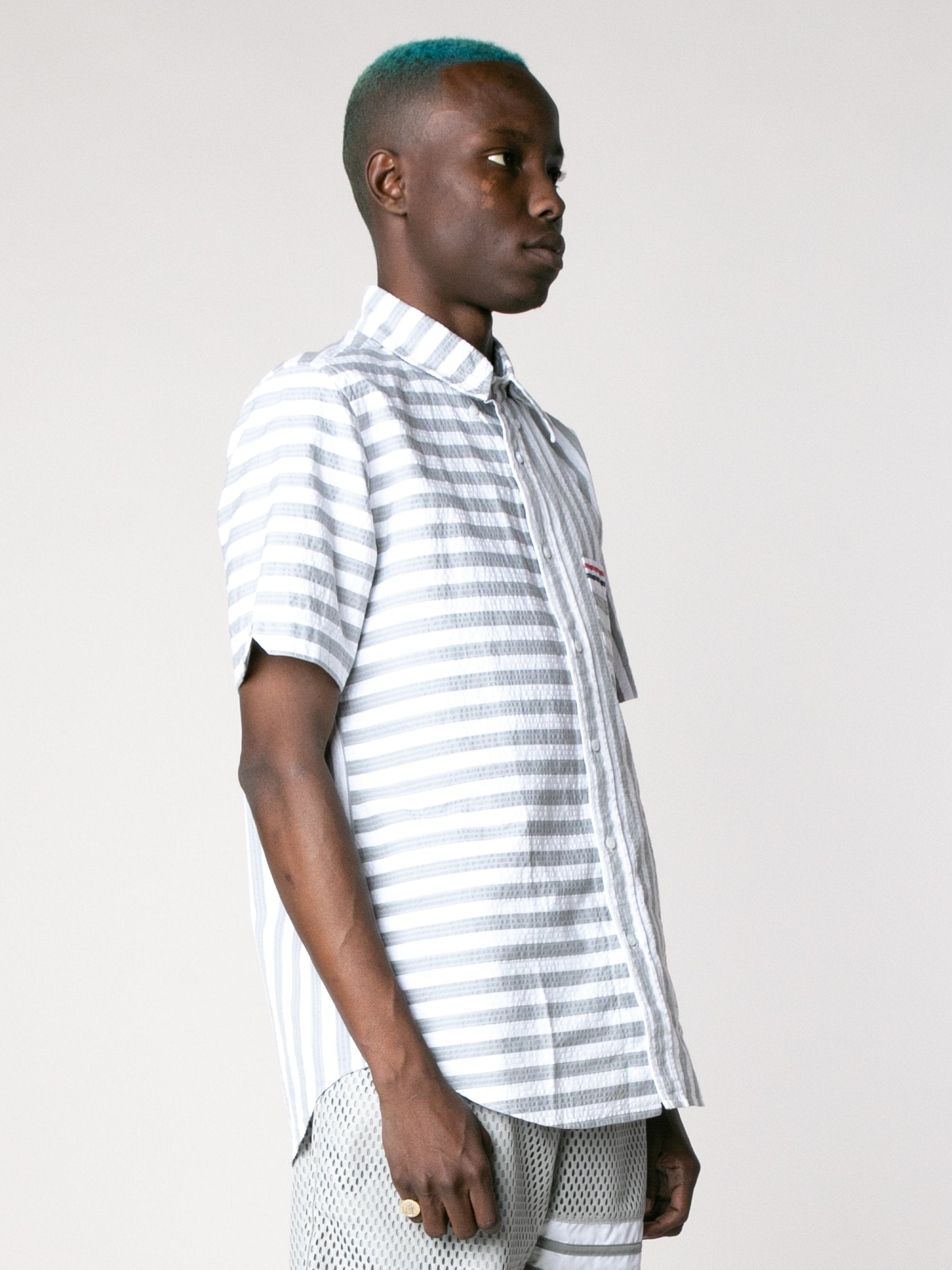 Med Grey Straight Fit Button Down Short Sleeve Shirt In Engineered RWB Wide Universty Stripe Shirt Seersucker 4