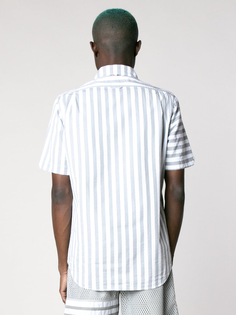 Straight Fit Button Down Short Sleeve Shirt In Engineered RWB Wide Universty Stripe Shirt Seersucker13867493523533