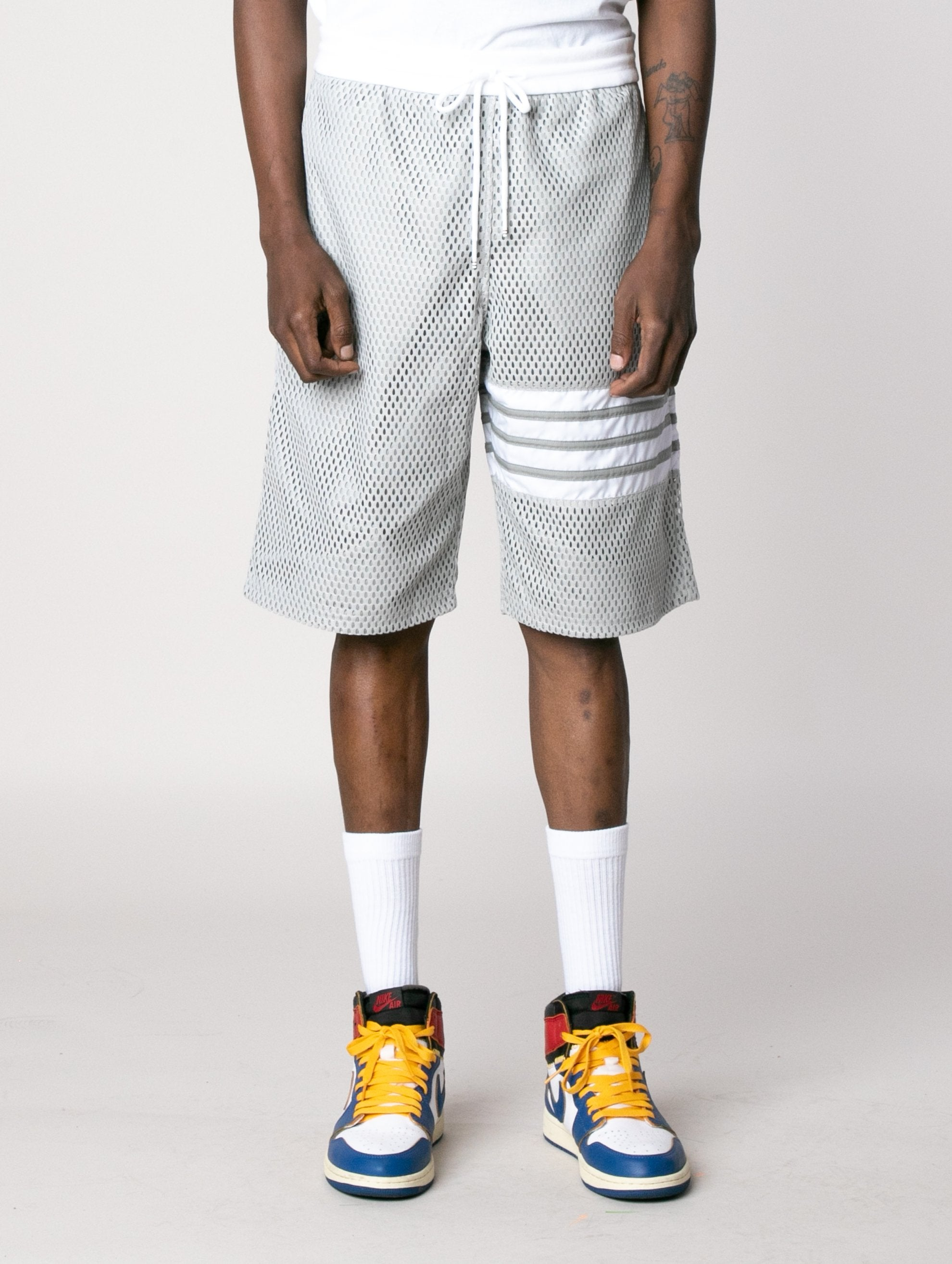 Light Grey Track Shorts In Heavy Athletic Mesh Jersey 2