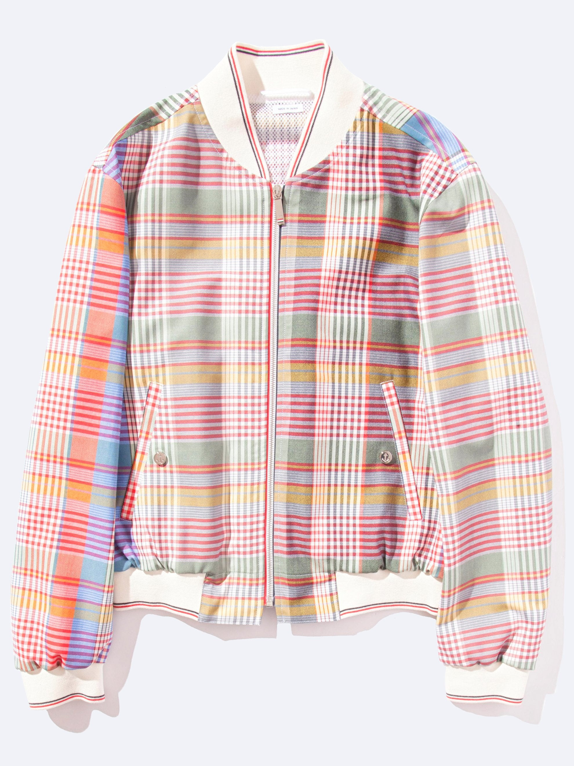 Fun Mix Zip front Blouson Storm Flap Jacket (Madras Check Wool Suiting) 1