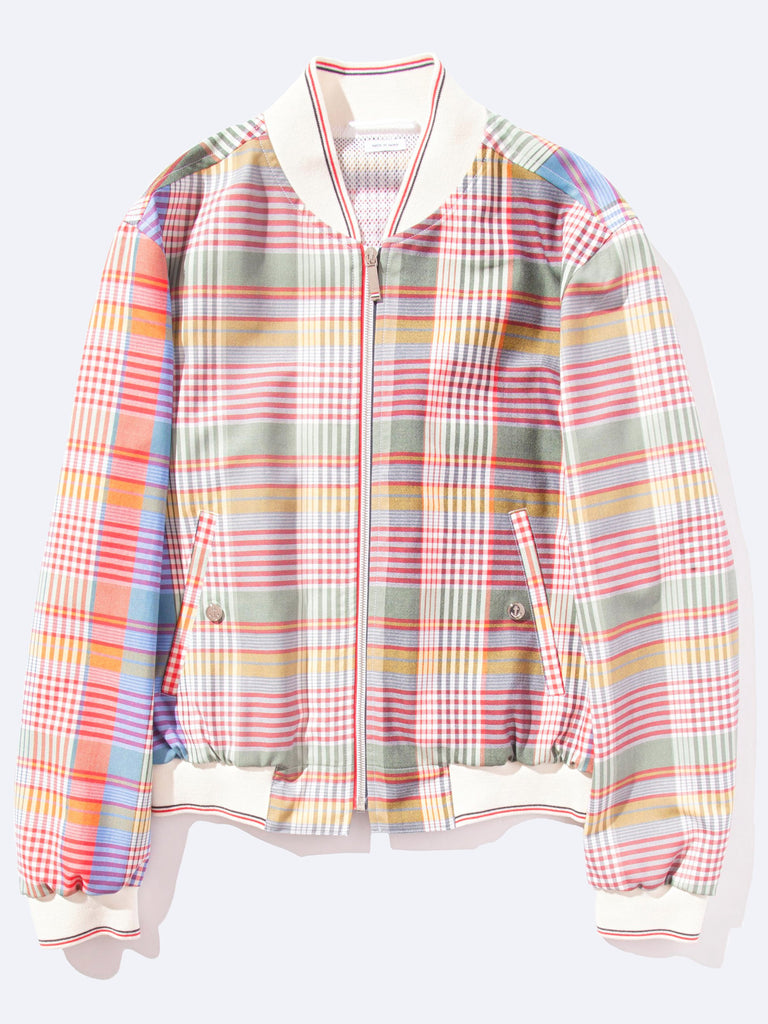 Zip front Blouson Storm Flap Jacket (Madras Check Wool Suiting)
