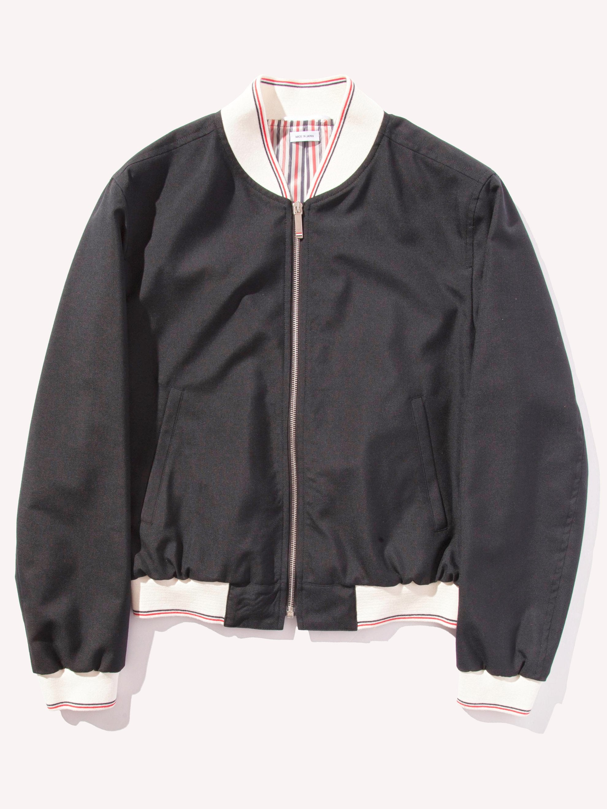 Black Zip Front Blouson Ribbed Jacket (CB RWB Selvedge in School Uniform Weave) 1