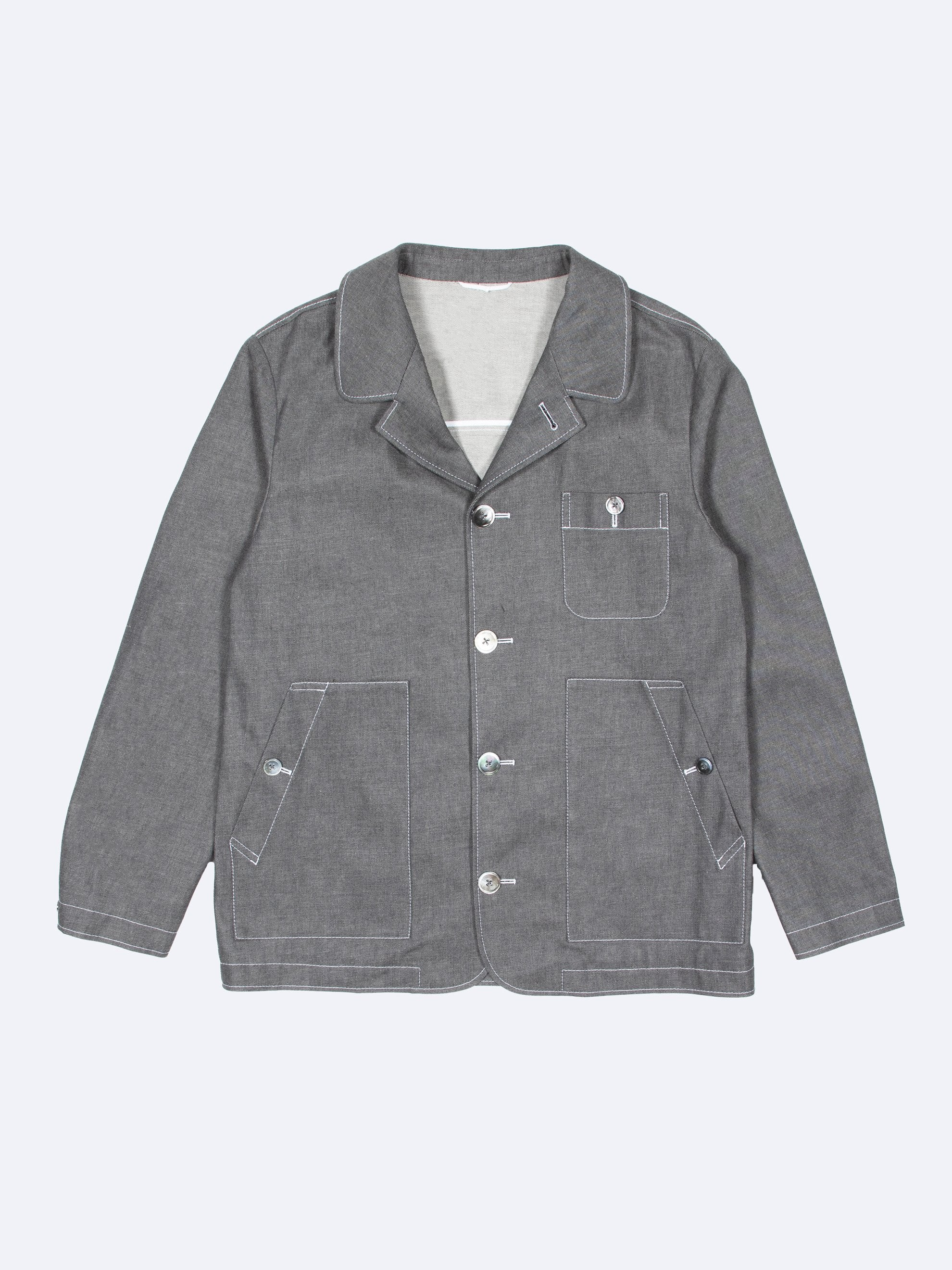 Med Grey Round Collar Button Up Square Patch Pocket Packet In Denim 1