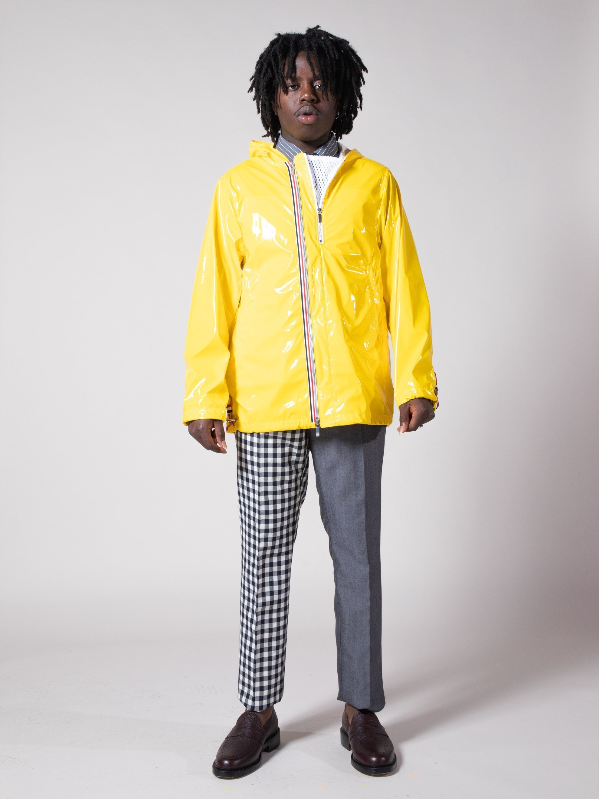 Yellow Articulated Hooded Nylon Jacket 4