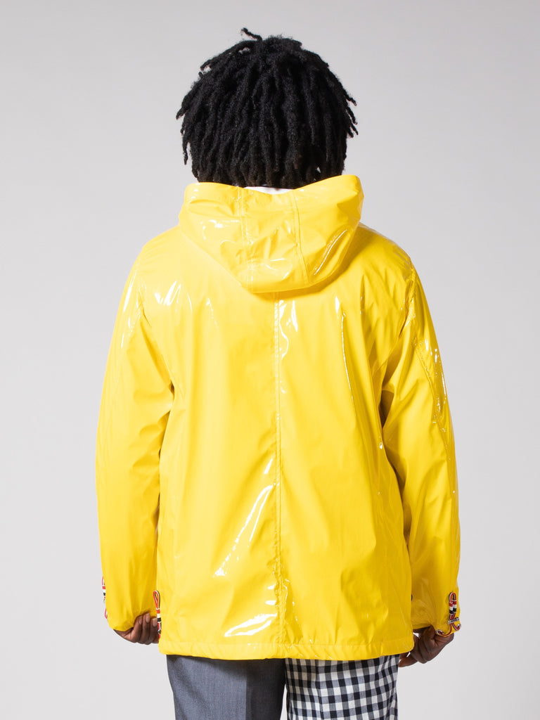 Yellow Articulated Hooded Nylon Jacket 313570918383693
