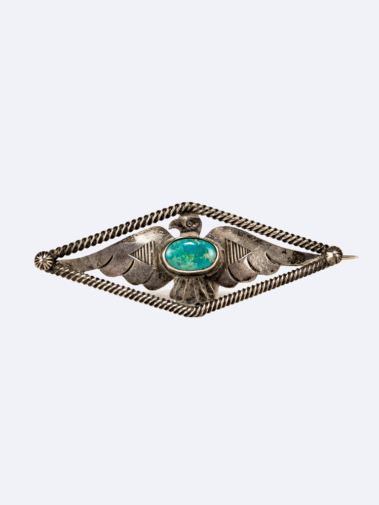 Vintage 1950's Navajo Bell Sterling Silver and Turquoise Stamped Thunderbird Pin