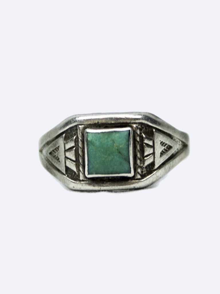 Vintage 1960's Navajo Sterling Silver and Square Turquoise Ring