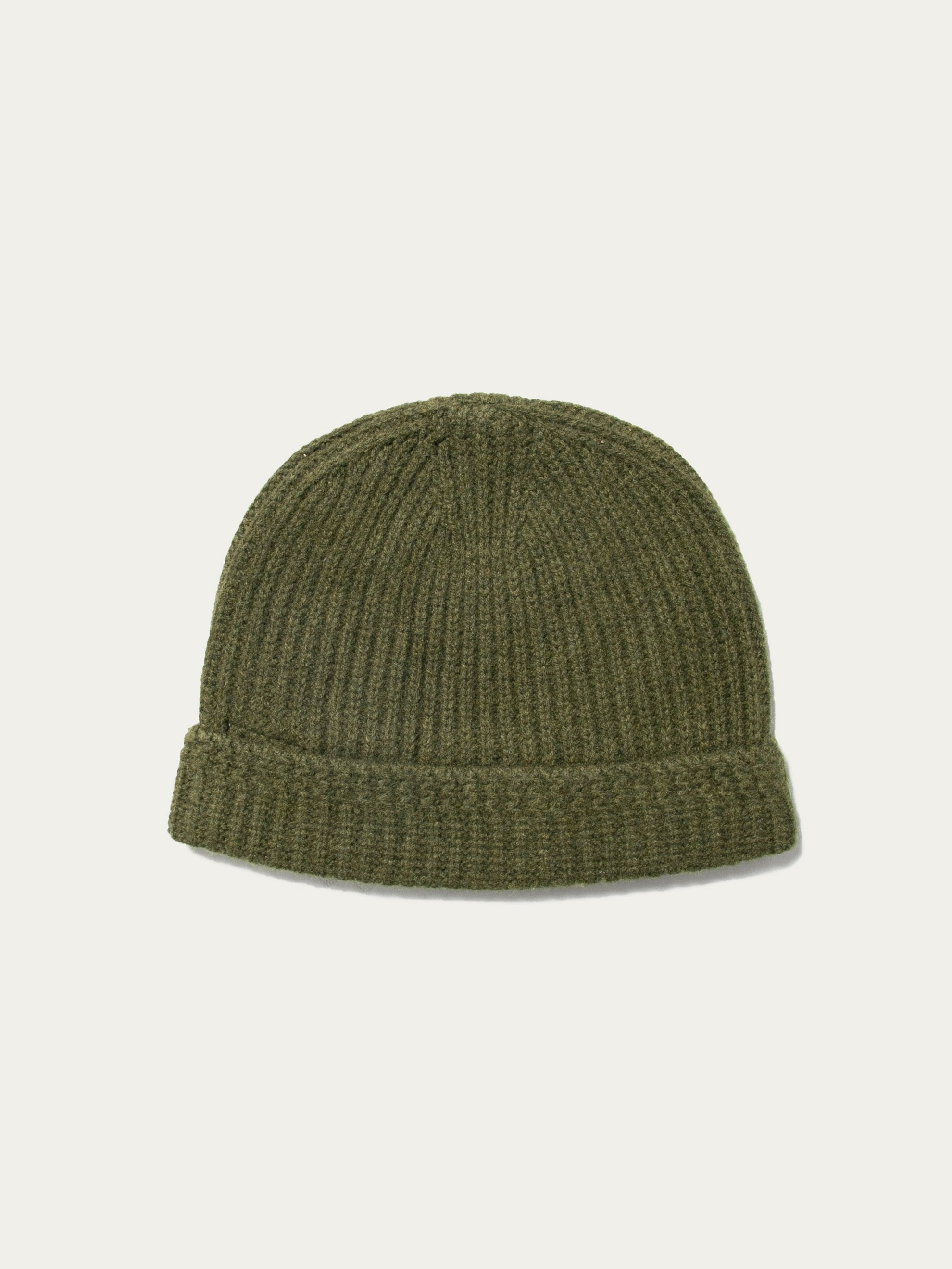 Olive Knit Beanie (Wool) 2