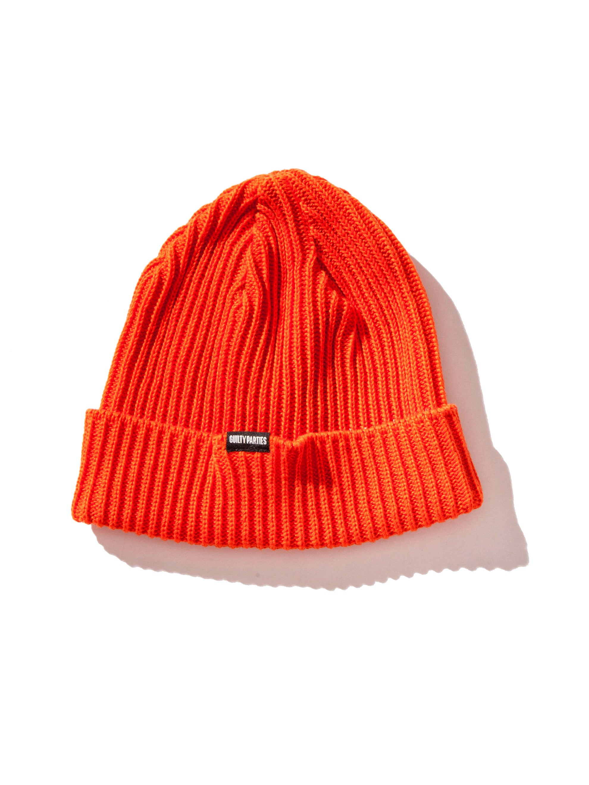 Orange Plain Knit Watch Cap 3