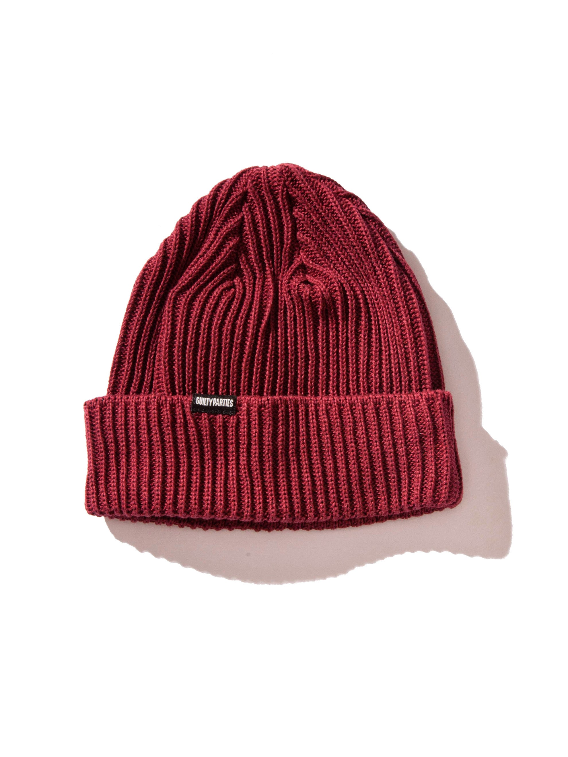 Burgundy Plain Knit Watch Cap 4