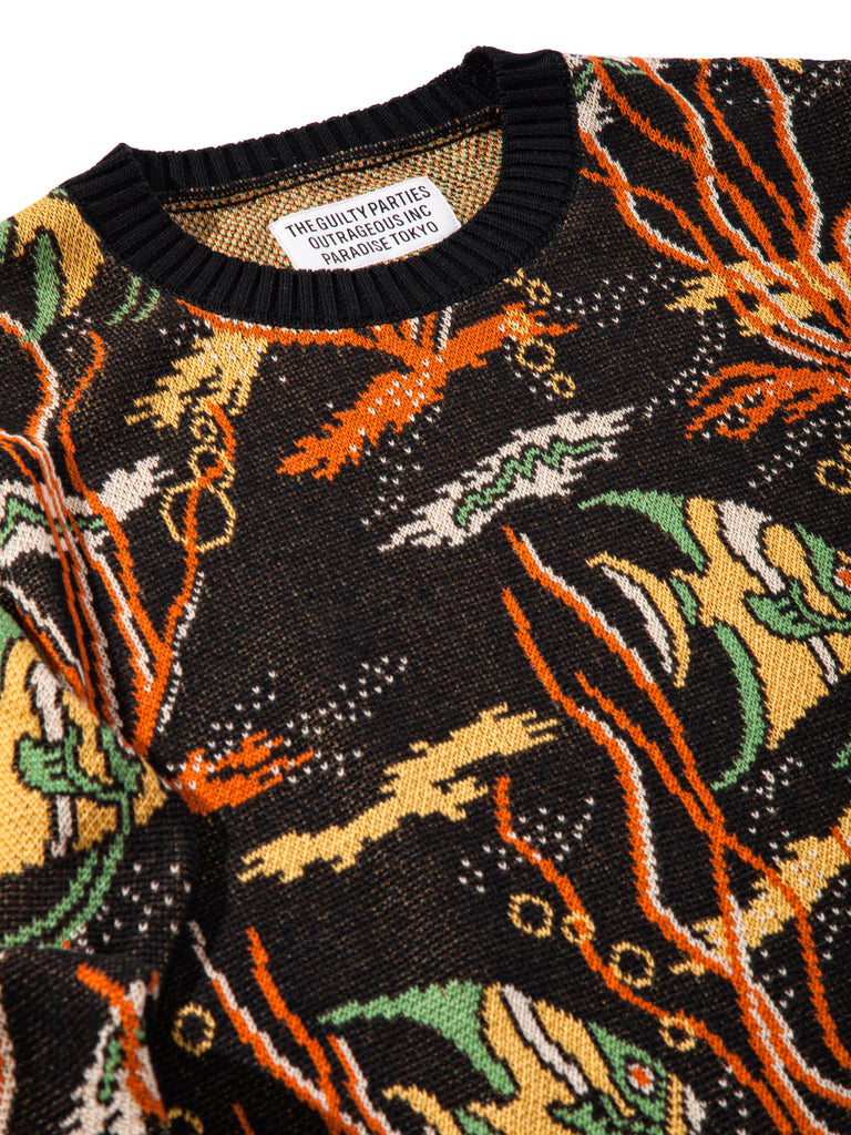 Black Tropical Fish Jacquard Sweater 720474156937