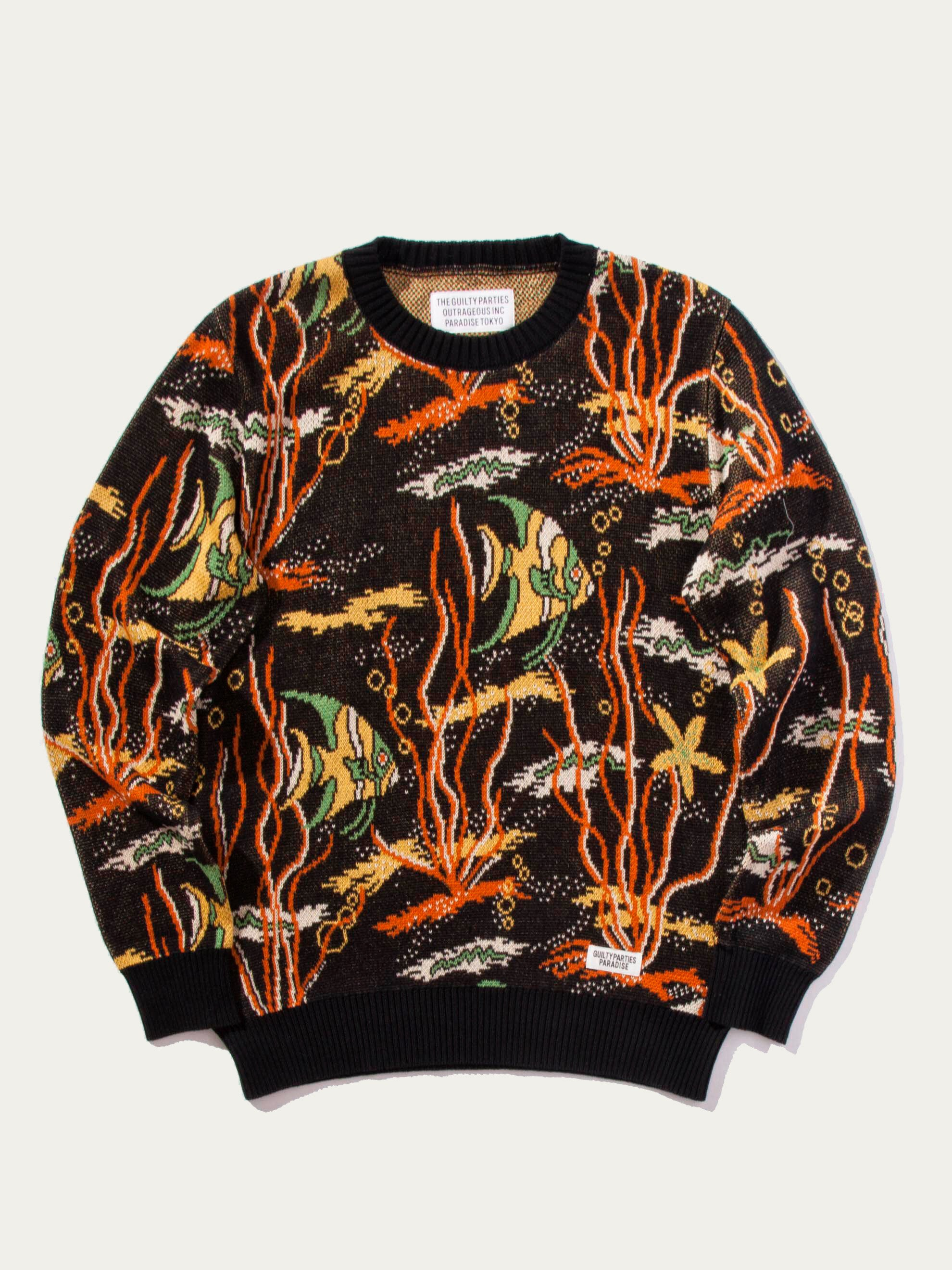 Black Tropical Fish Jacquard Sweater 1