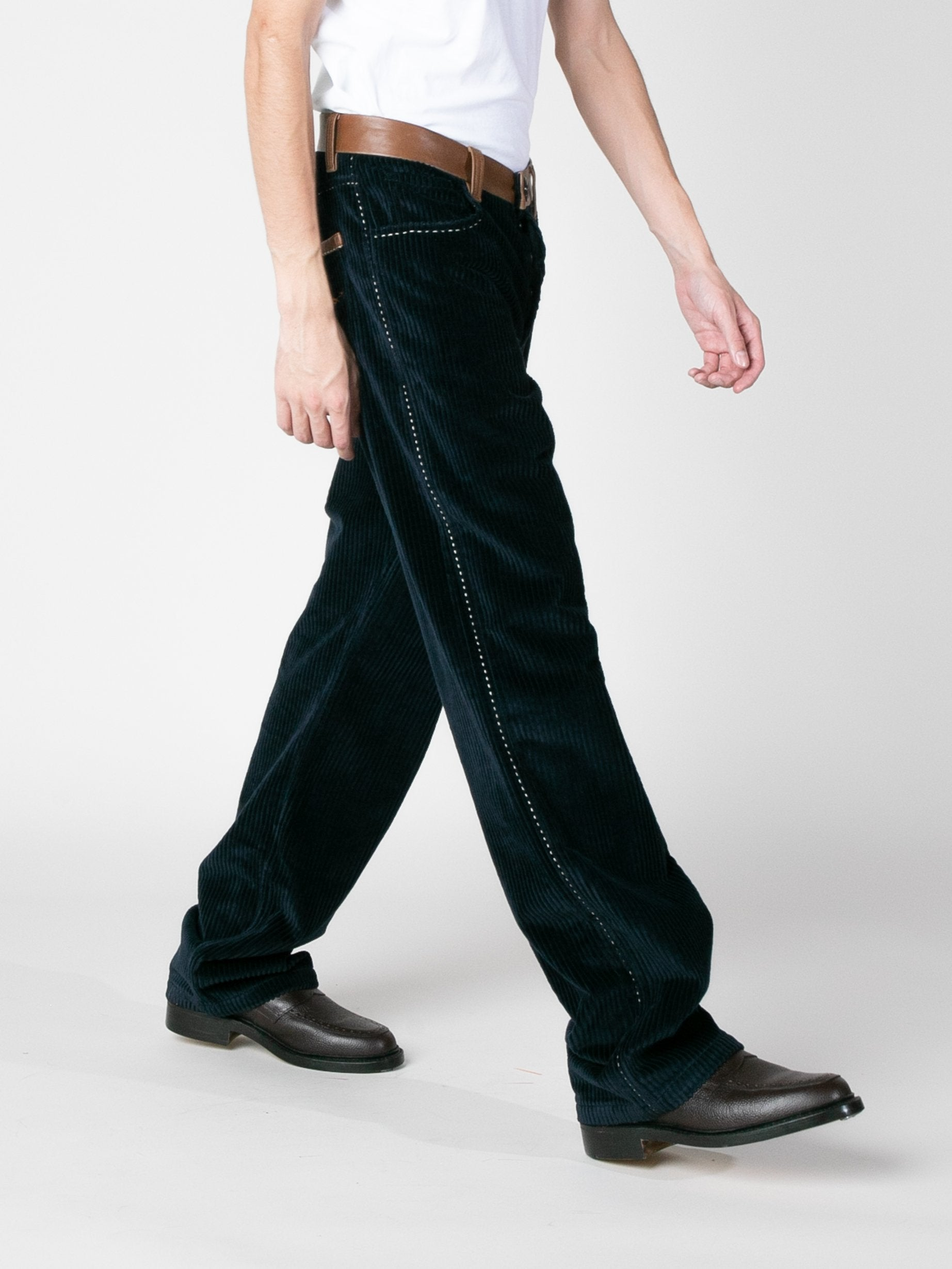 Midnight Wide Wale Corduroy Trousers 6
