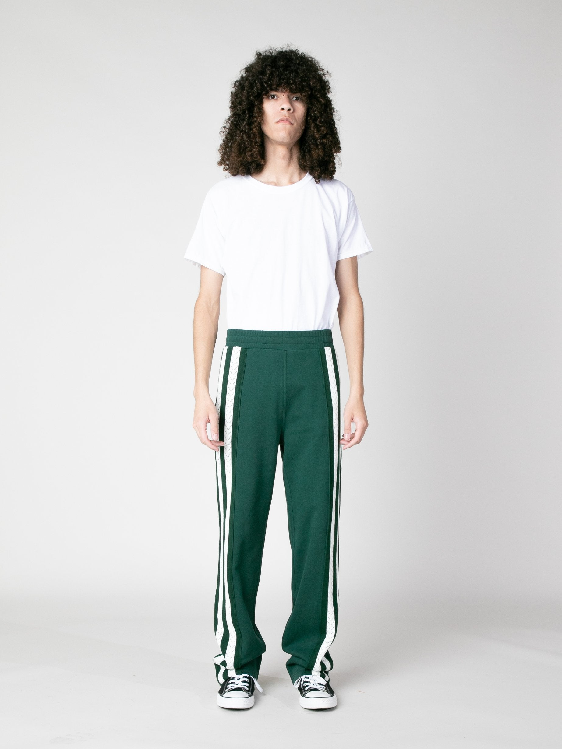 Forest Green Palms Crochet Stripe Trackpants 4