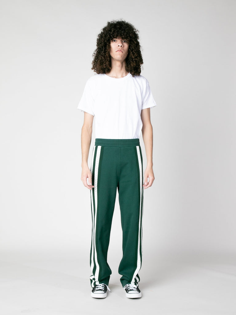 Forest Green Palms Crochet Stripe Trackpants 413570295332941