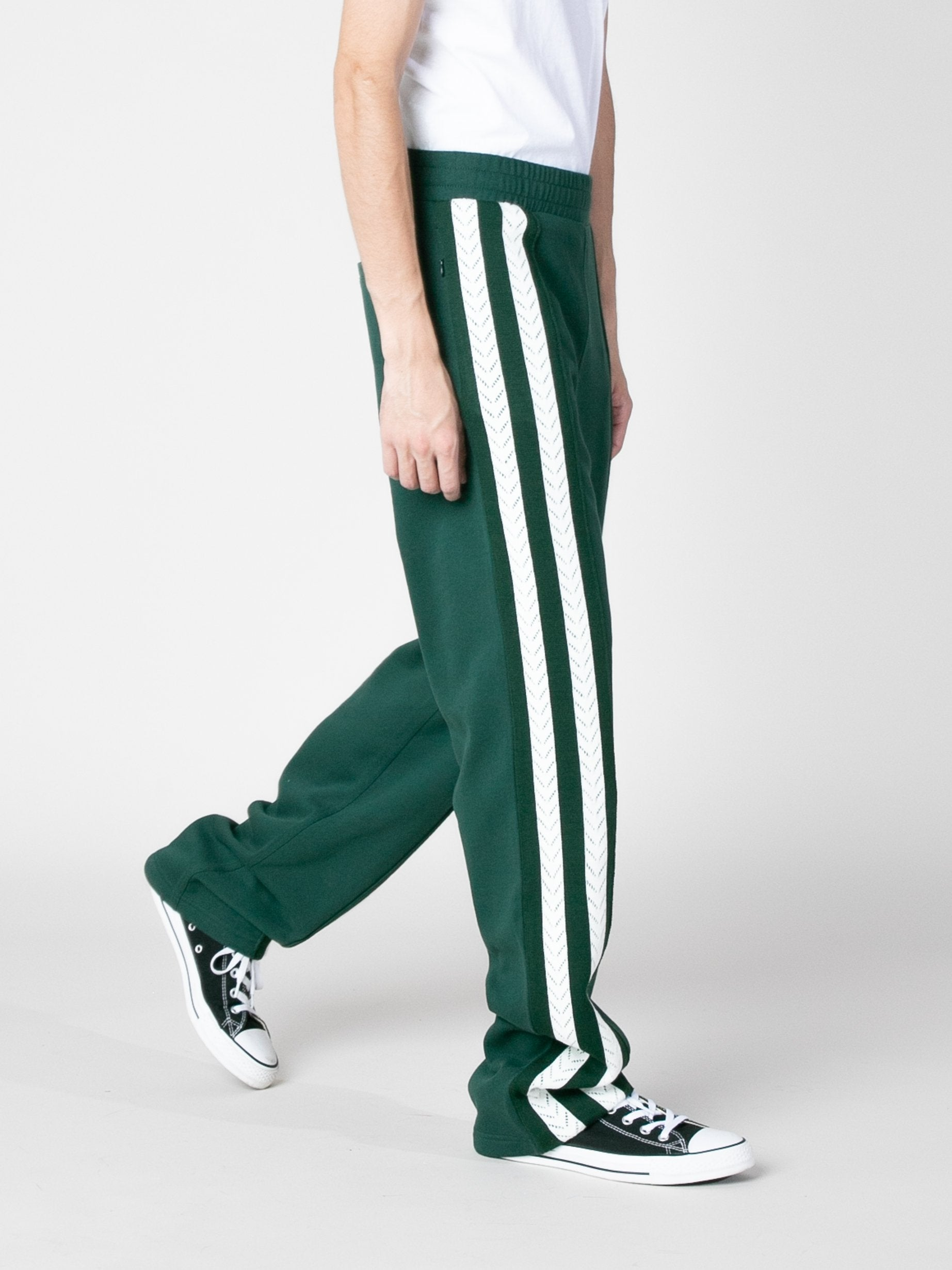 Forest Green Palms Crochet Stripe Trackpants 3