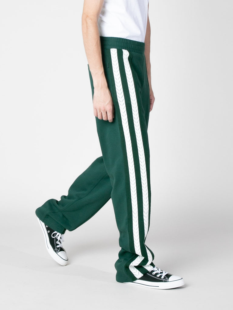 Forest Green Palms Crochet Stripe Trackpants 313570295398477