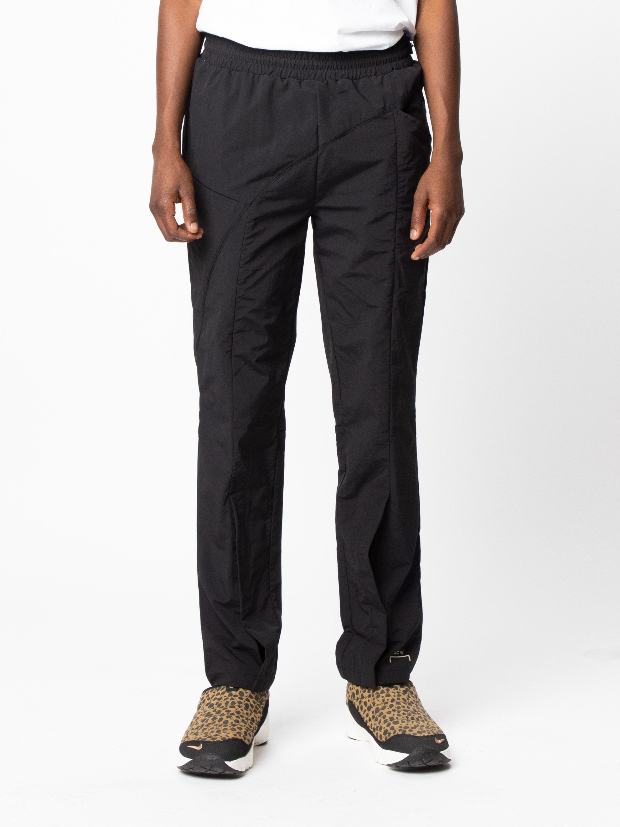 Black Woven Pant Curved Stitch Track Pants 3