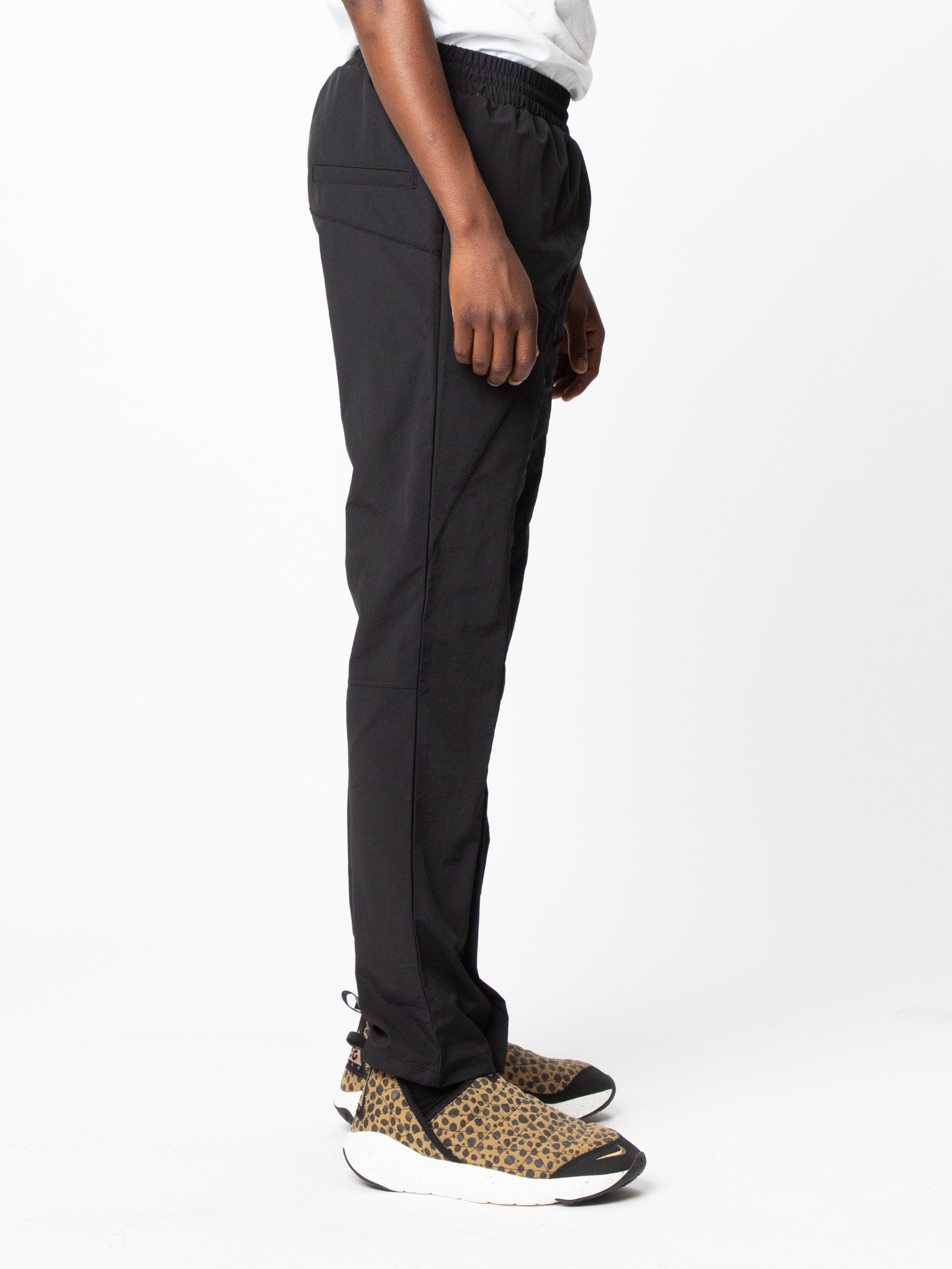 Black Woven Pant Curved Stitch Track Pants 4