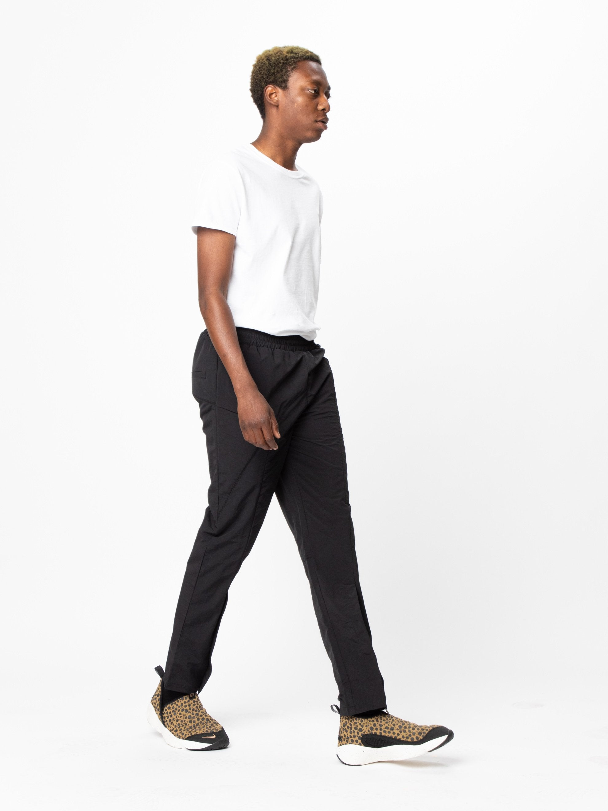 Black Woven Pant Curved Stitch Track Pants 6