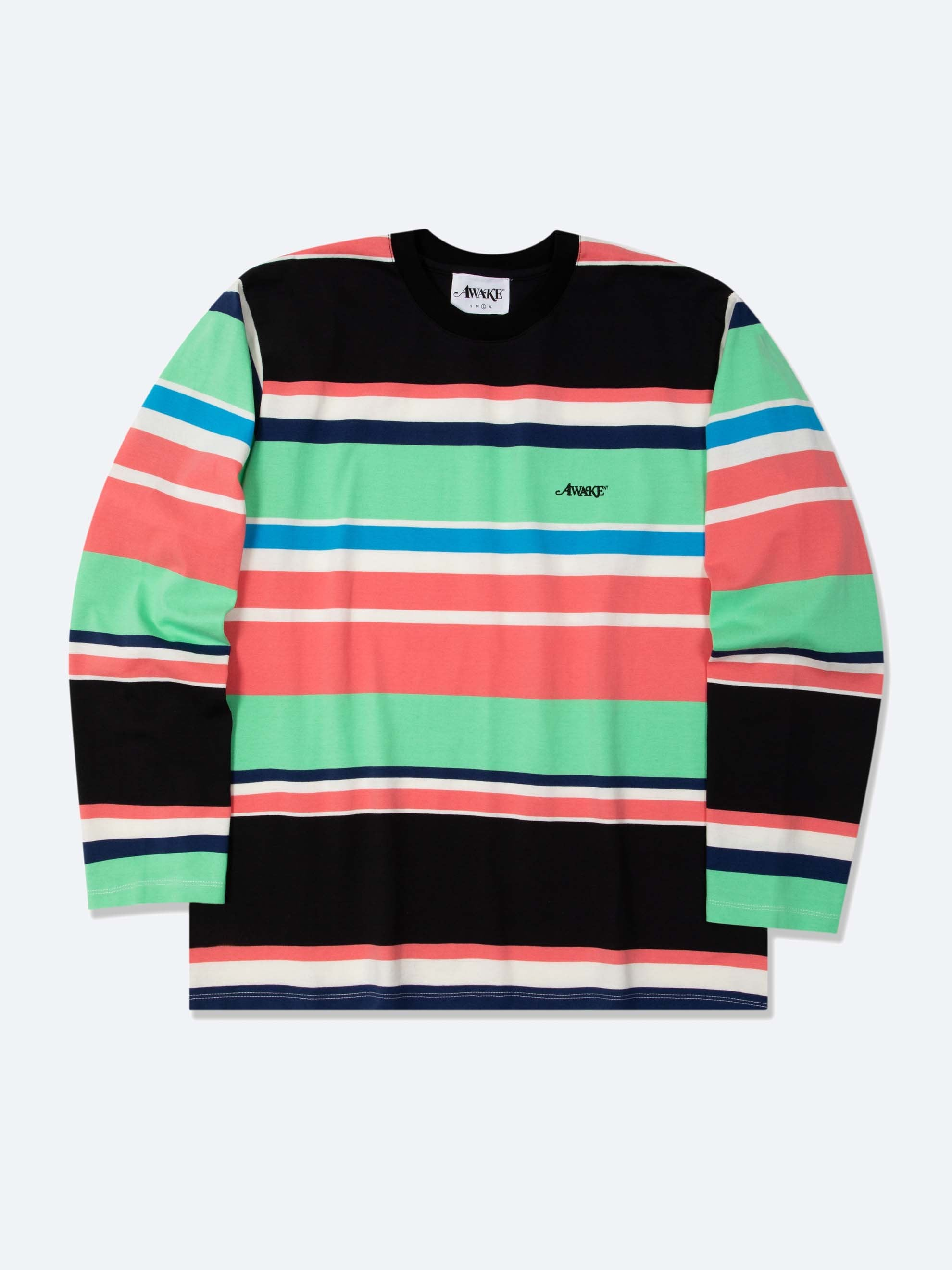 Black Embroidered Logo L/S Striped T-Shirt 1