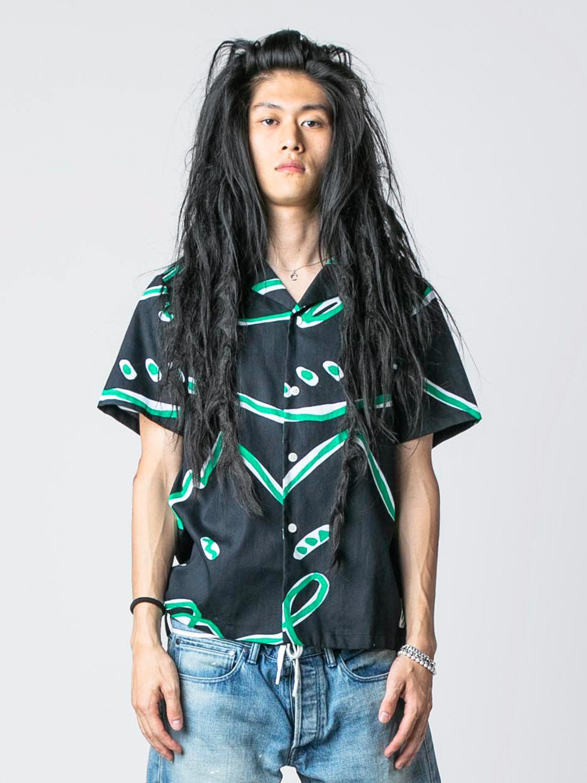 Black Abstract Print Button-Up Shirt 2