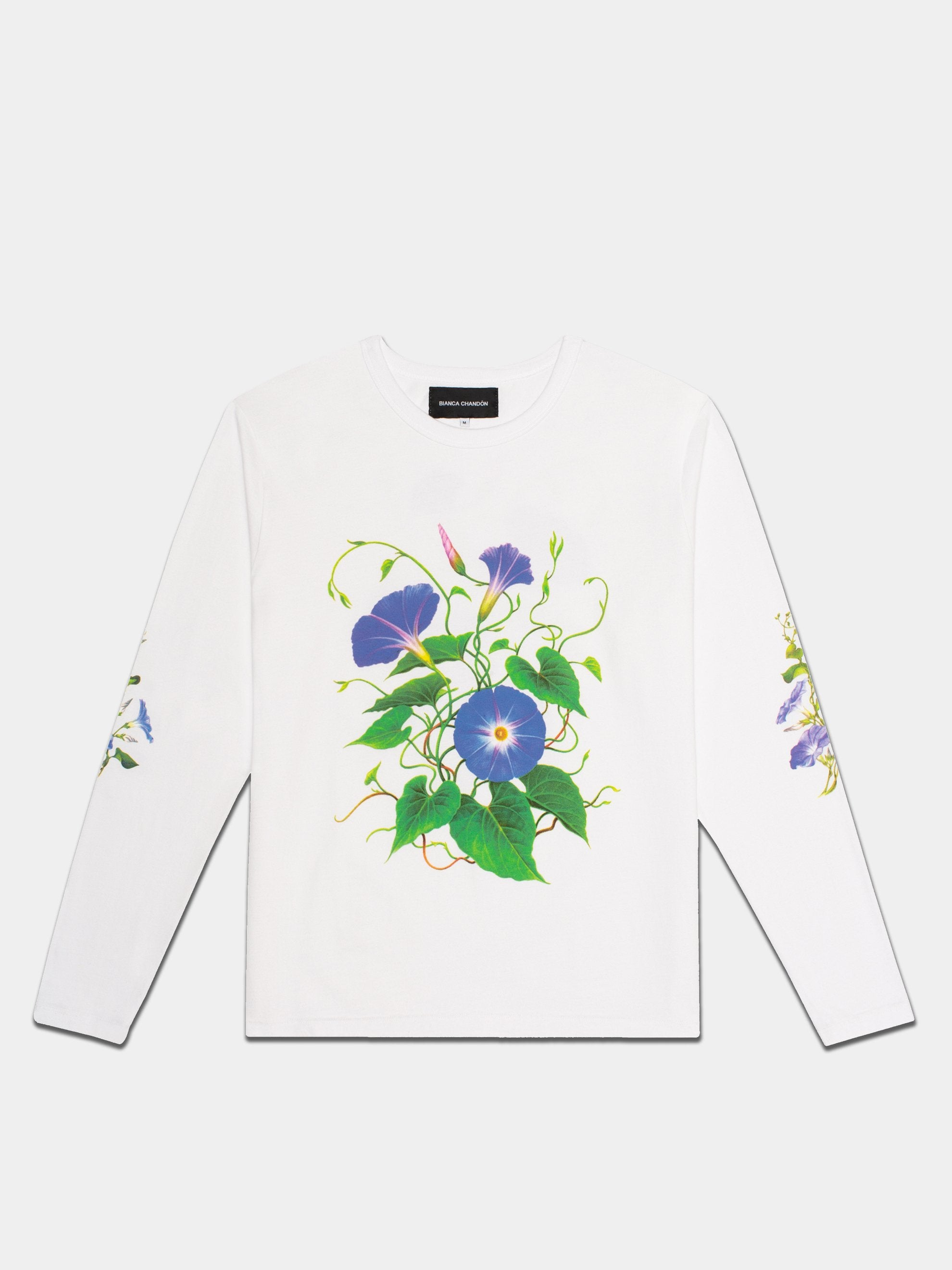 White Morning Glory Long Sleeve T-Shirts 1