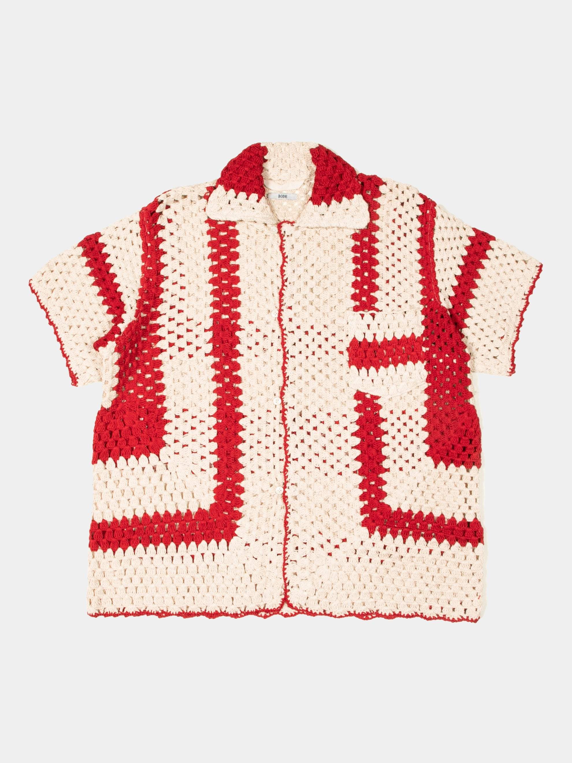 White/Red Crochet Big Top Shirt 1