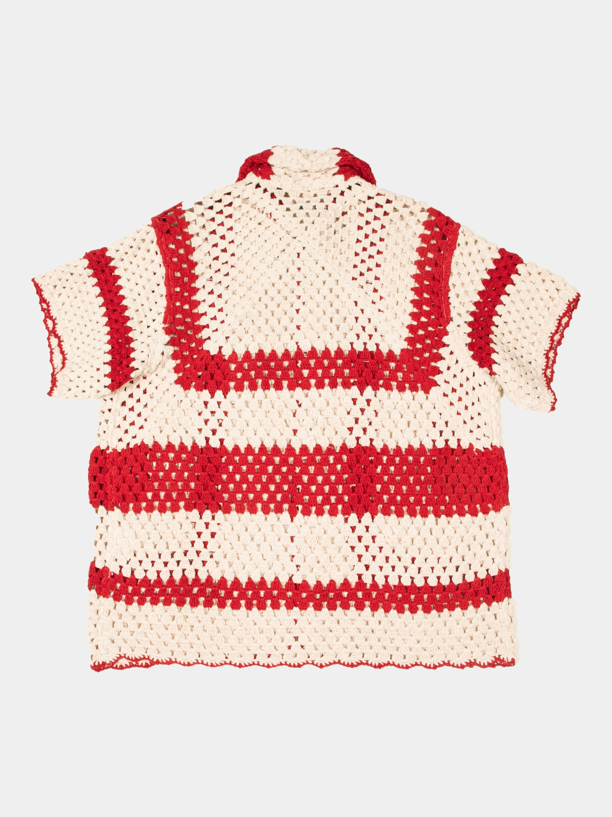 White/Red Crochet Big Top Shirt 2