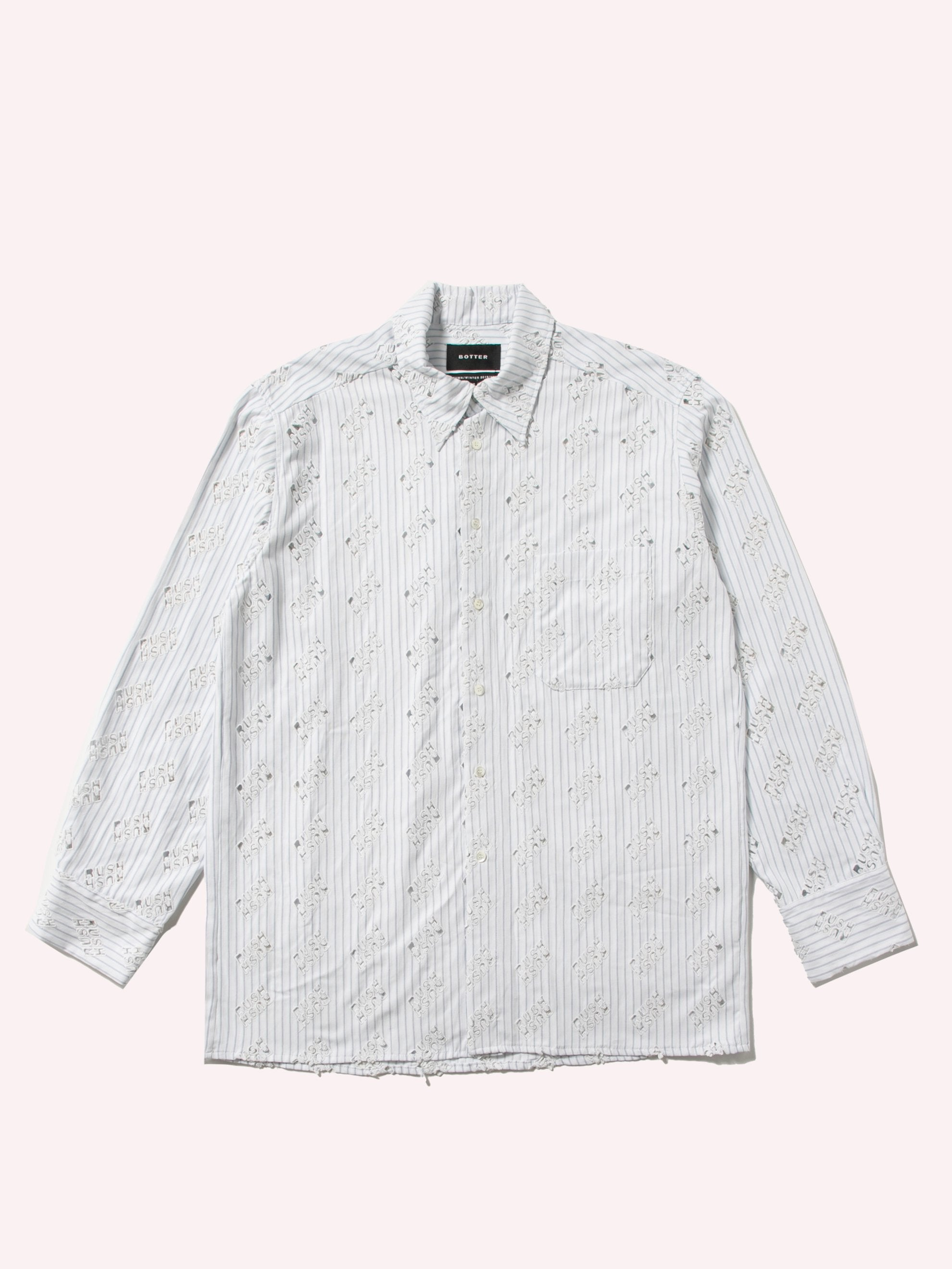 White Blue Rush Rush Embroidered Shirt 1