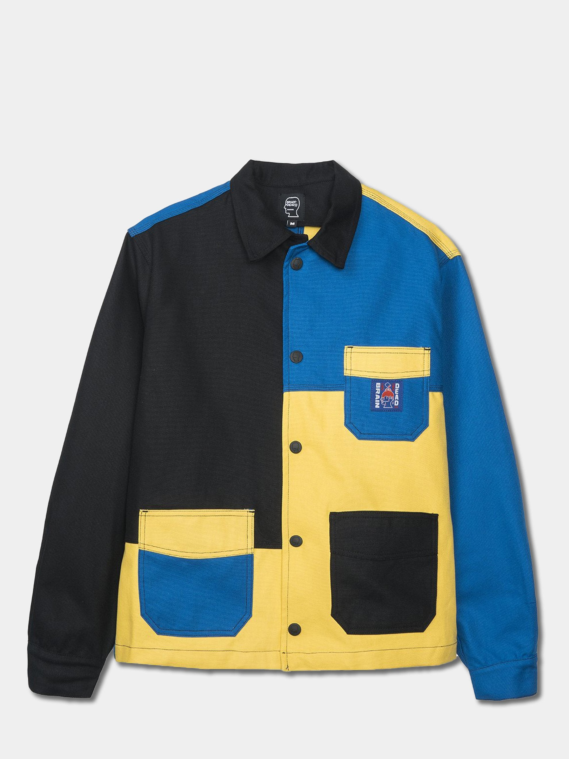 Yellow / Blue /Color Block Canvas Chore Coat 1