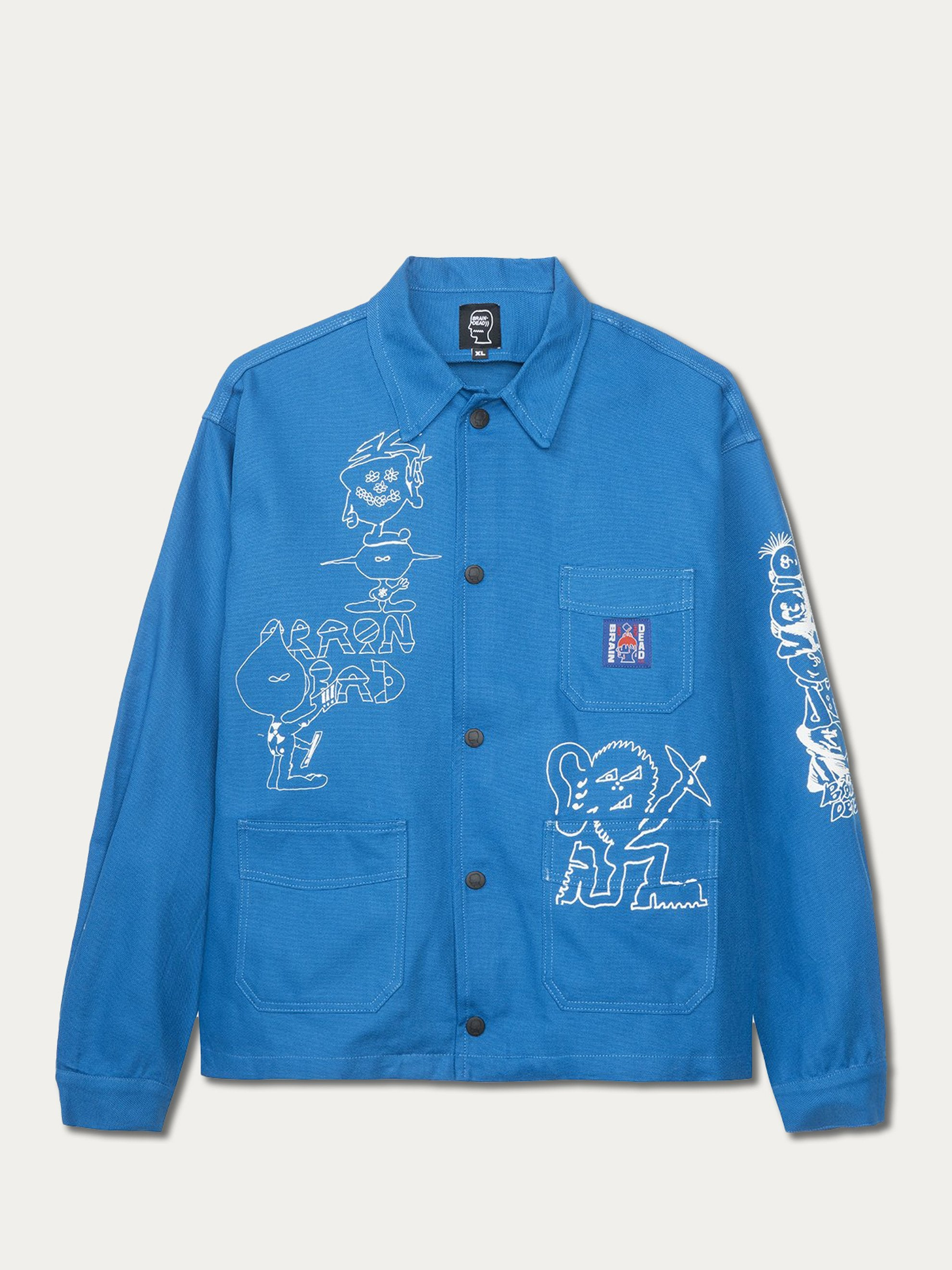 Blue Printed Canvas Chore Coat 1