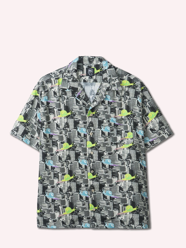Snail Print Short Sleeve Button Down Shirt