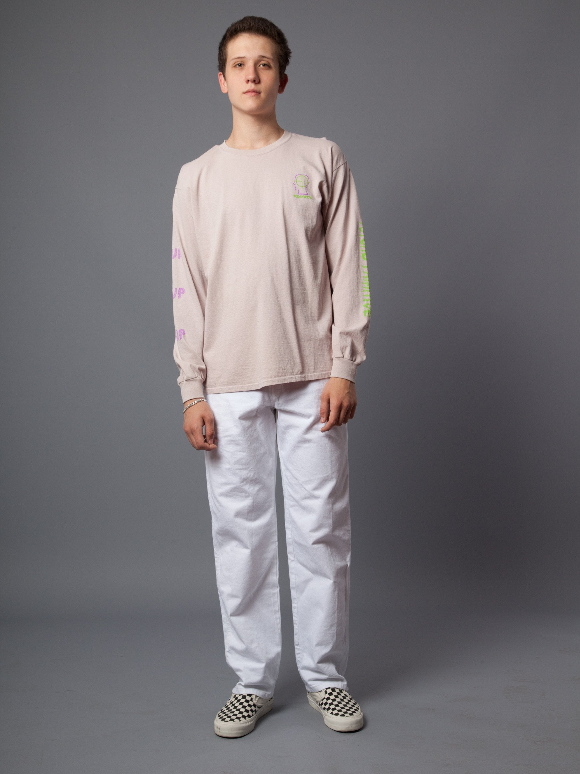 "Dusty Pink 2UP ""Psycho Primitive"" Long Sleeve T-Shirt 2"
