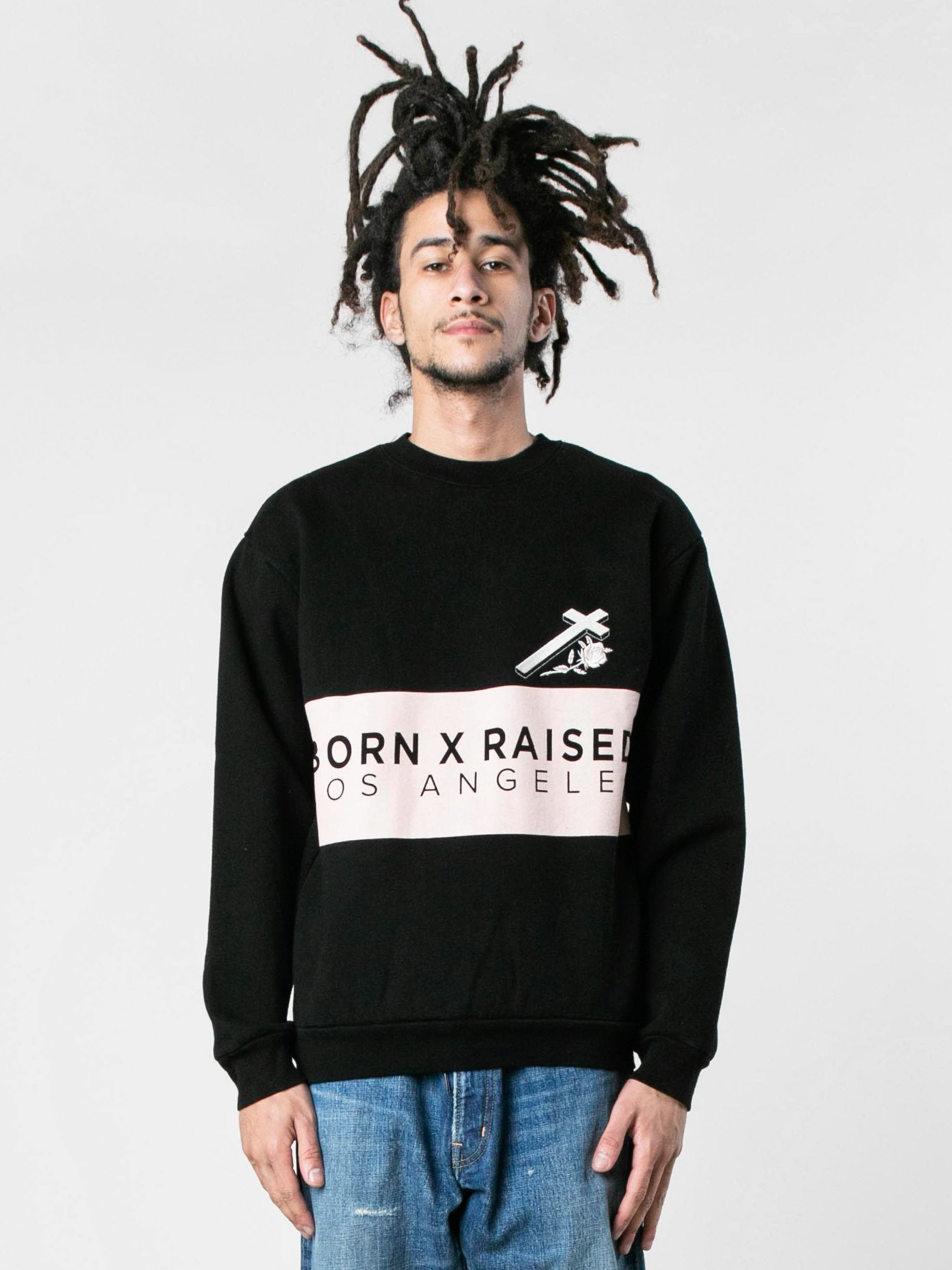 Black Cream Color Block Crewneck 2