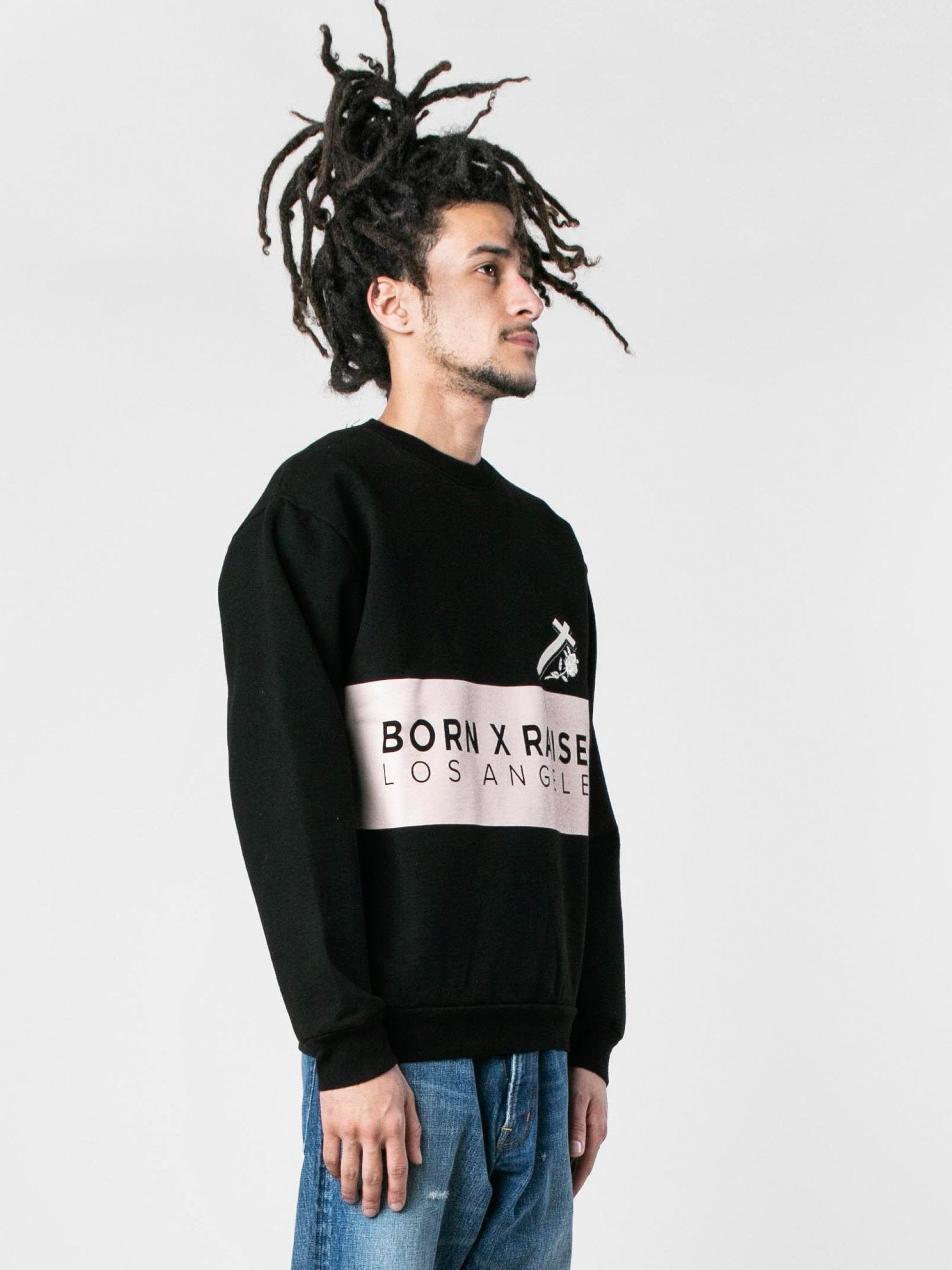 Black Cream Color Block Crewneck 4